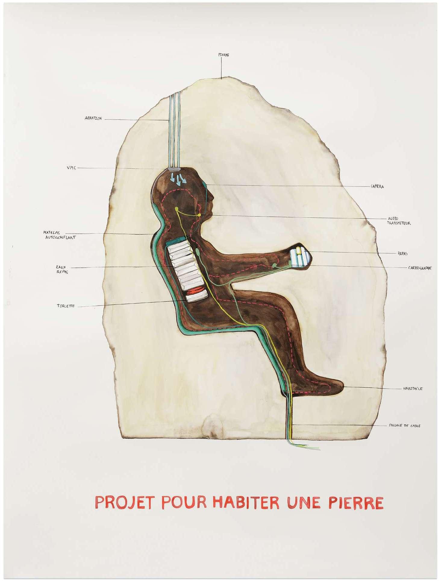 Abraham Poincheval, Projet pour habiter une pierre, 2017 Crayon et aquarelle sur papier115 × 85 cm / 45 2/8 × 33 1/2 in.