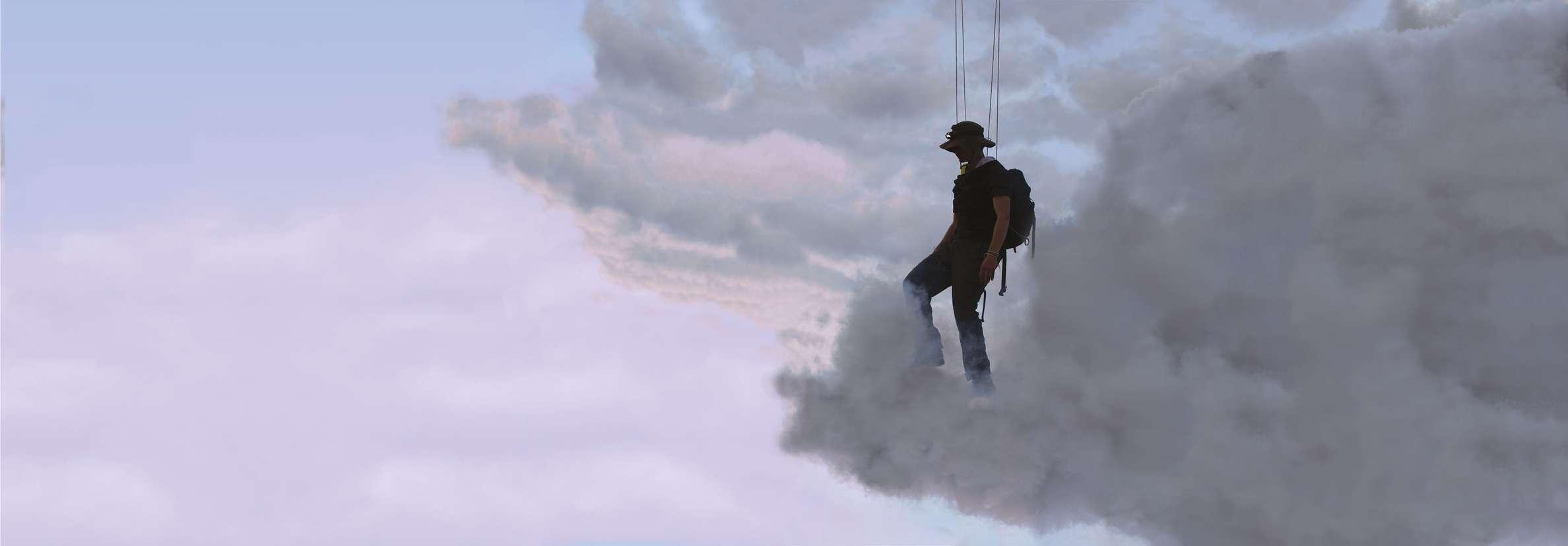 Abraham Poincheval, Walk on Clouds, 2019 Vidéo numérique sonorisée en boucle, projection 18 x 3,77 m (3 projecteurs) 14min05s