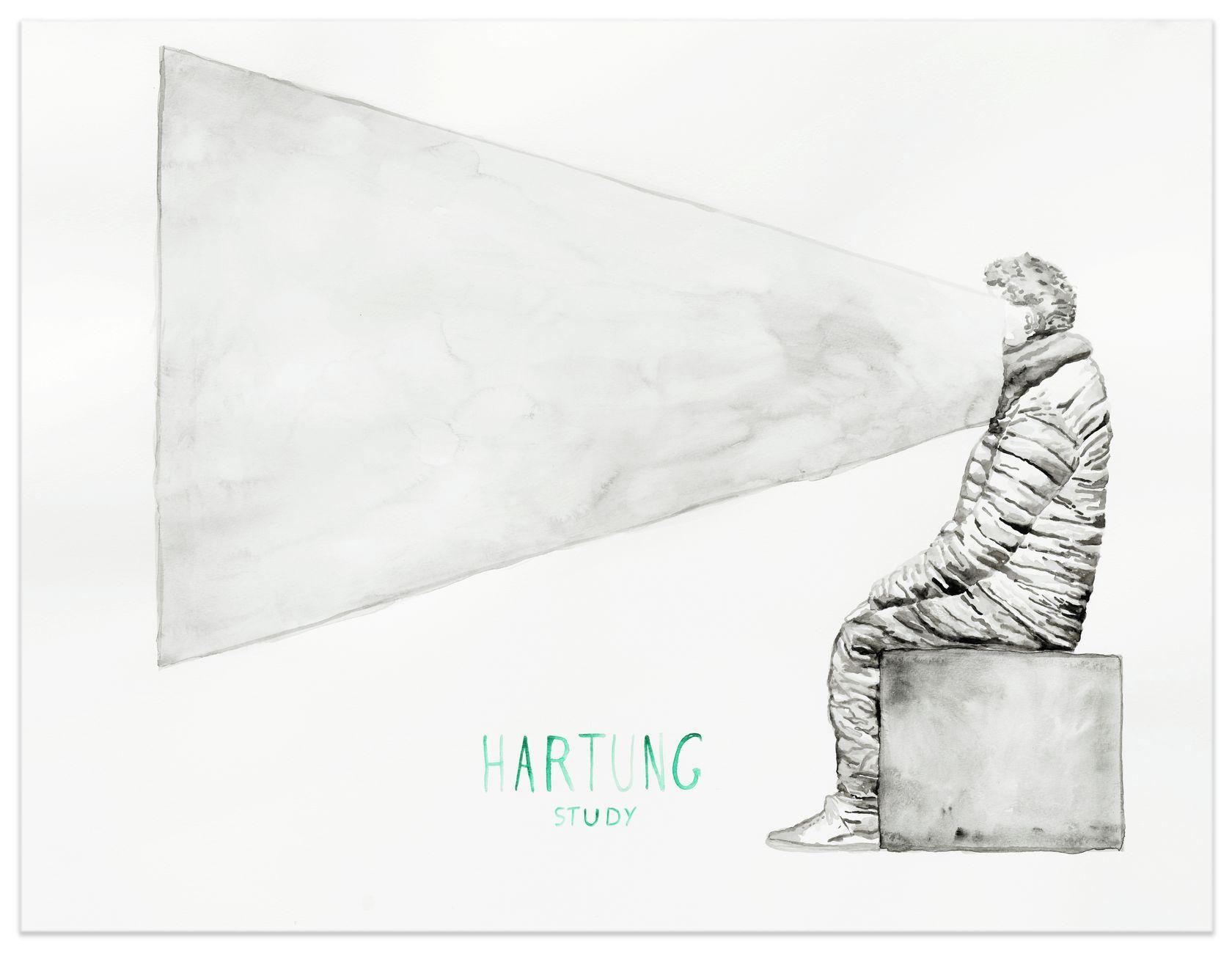 Abraham Poincheval, Hartung, 2021 Aquarelle sur papier50 × 65 cm / 19 5/8 × 25 5/8 in. | 64 × 79 × 3.5 cm / 25 2/8 × 31 1/8 × 1 3/8 in. (encadré/framed)