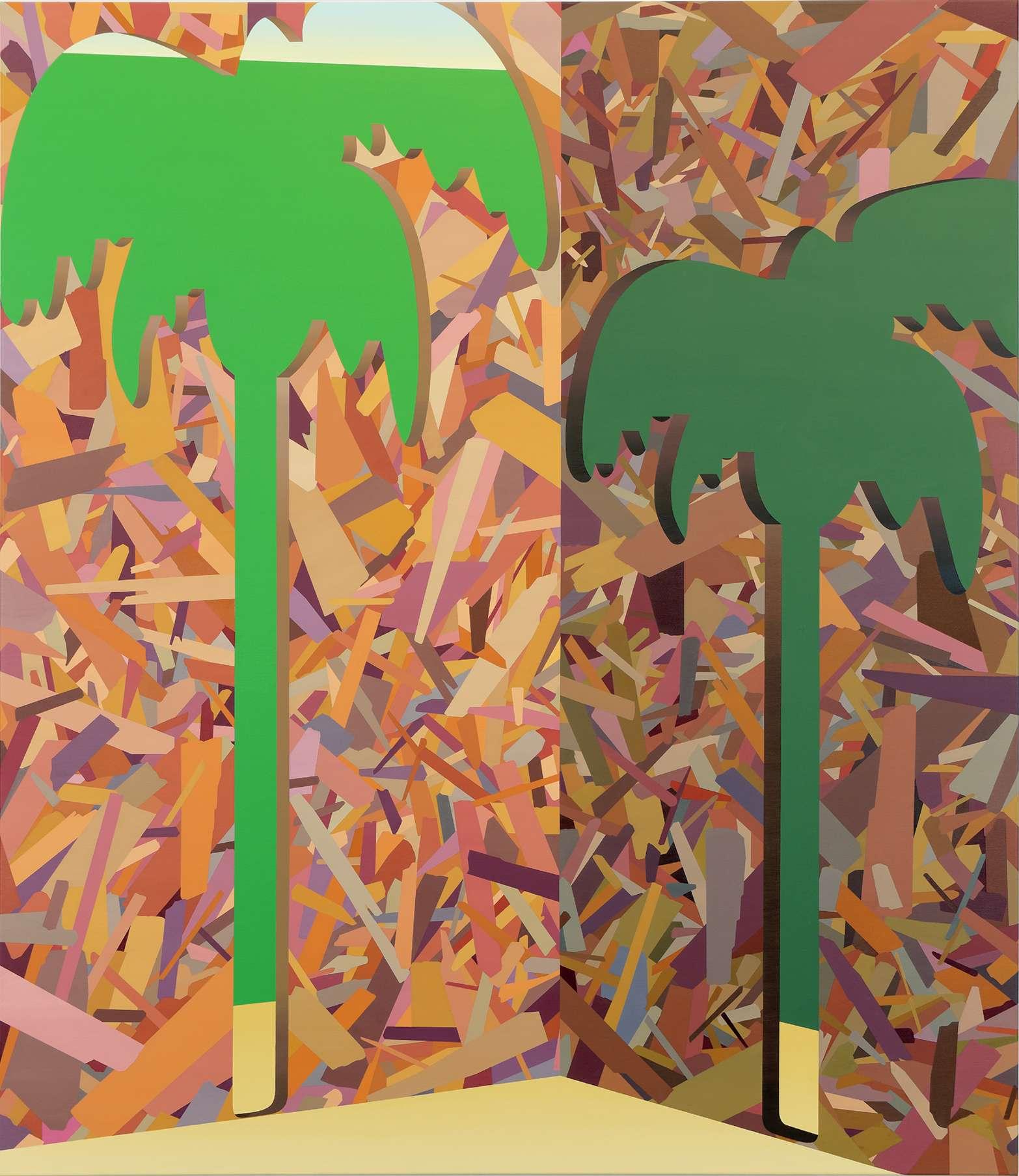 Amélie Bertrand, Palmiers, 2014 Huile sur toile150 x 130cm / 59  x 51 1/8inches