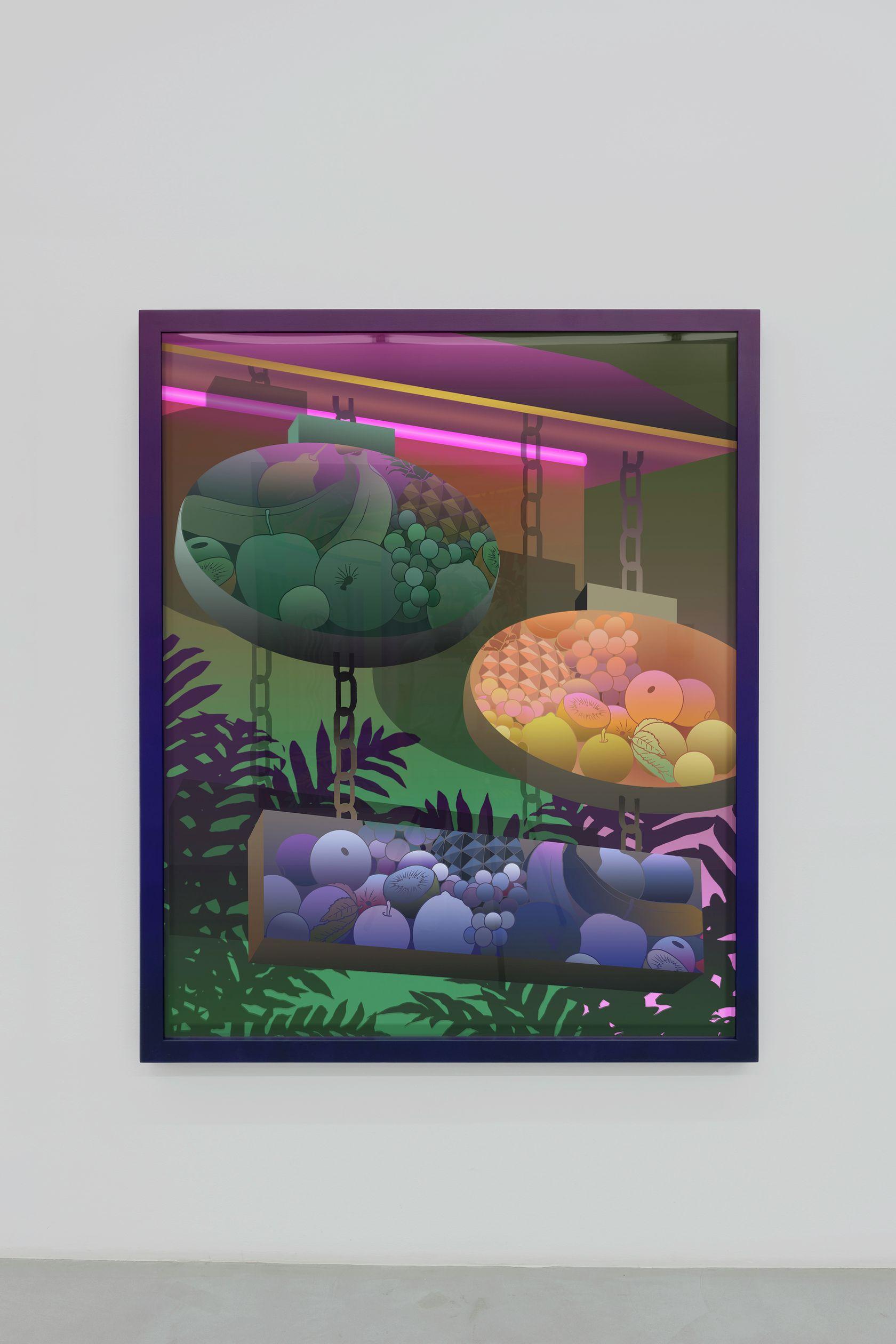 Amélie Bertrand, Vapeurs, 2018 Tirage argentique et cadre peint - pièce unique168.5 × 138.5 × 6 cm / 66 3/8 × 54 1/2 × 2 3/8 in.