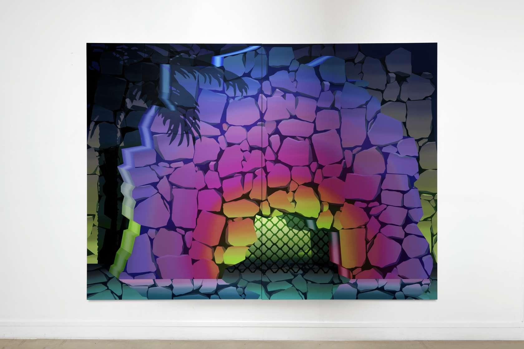 Amélie Bertrand, From Dusk Till Dawn, 2019 Huile sur toile (diptyque)220 × 300 × 4.5 cm / 86 5/8 × 118 1/8 × 17 6/8 in.220 × 150 × 4.5 cm / 86 5/8 × 59  × 1 6/8 in. (chaque/each)