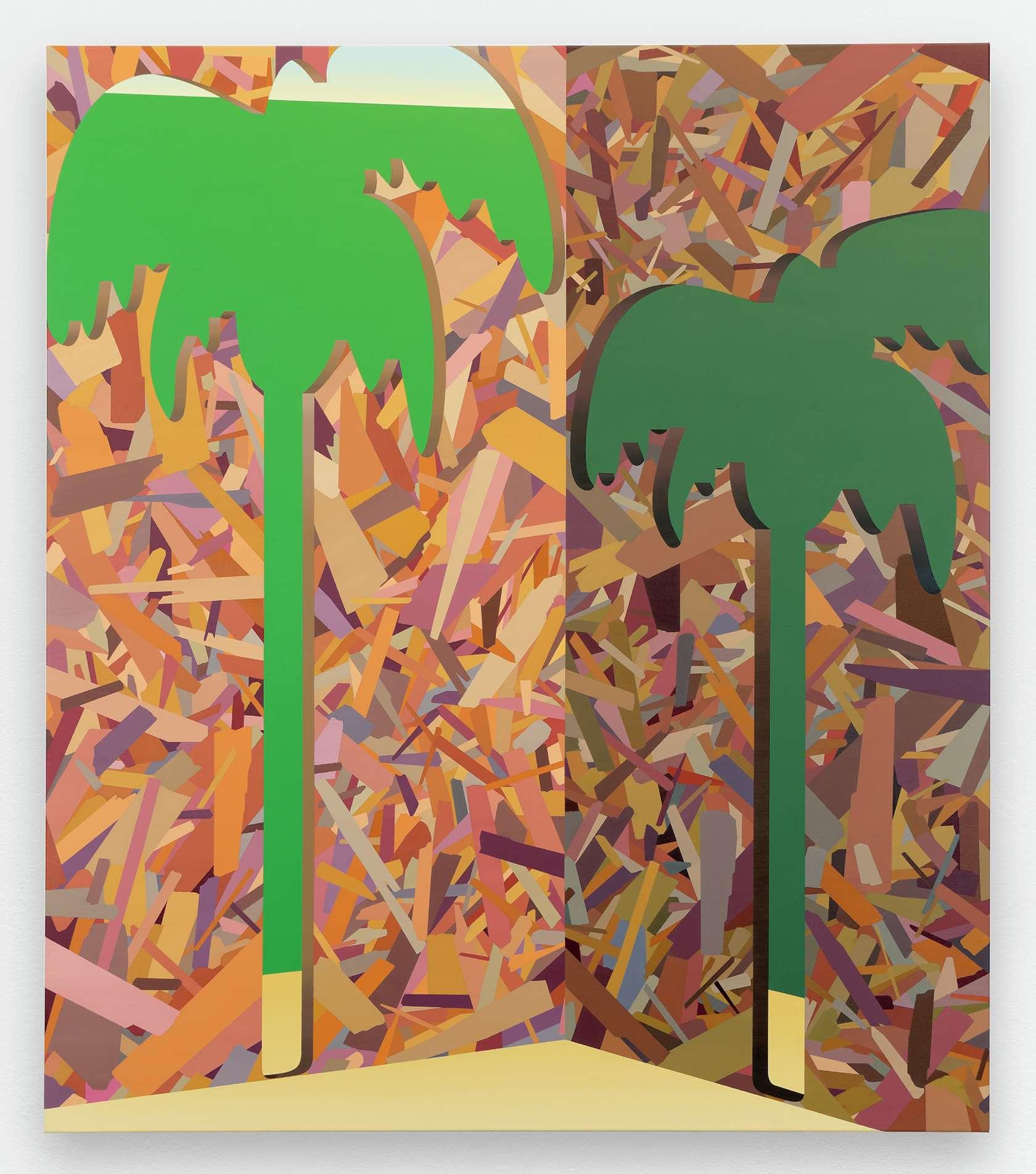 Amélie Bertrand, Palmiers, 2014 Huile sur toile150 × 130 cm / 59  × 51 1/8 in.