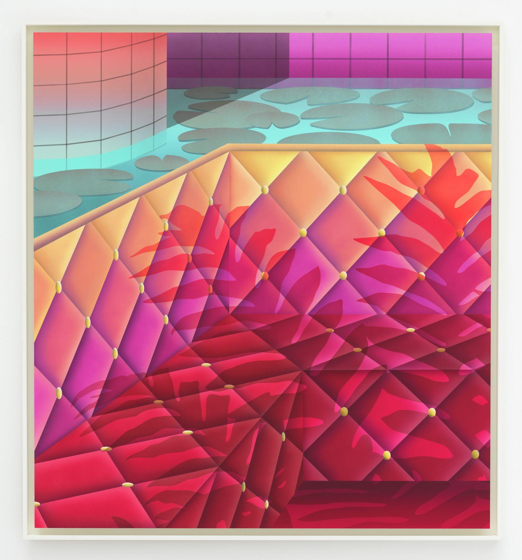 Amélie Bertrand, Call of idleness, 2021 Acrylique sur papier contrecollé sur aluminium130 × 120 cm / 51 1/8 × 47 2/8 in.