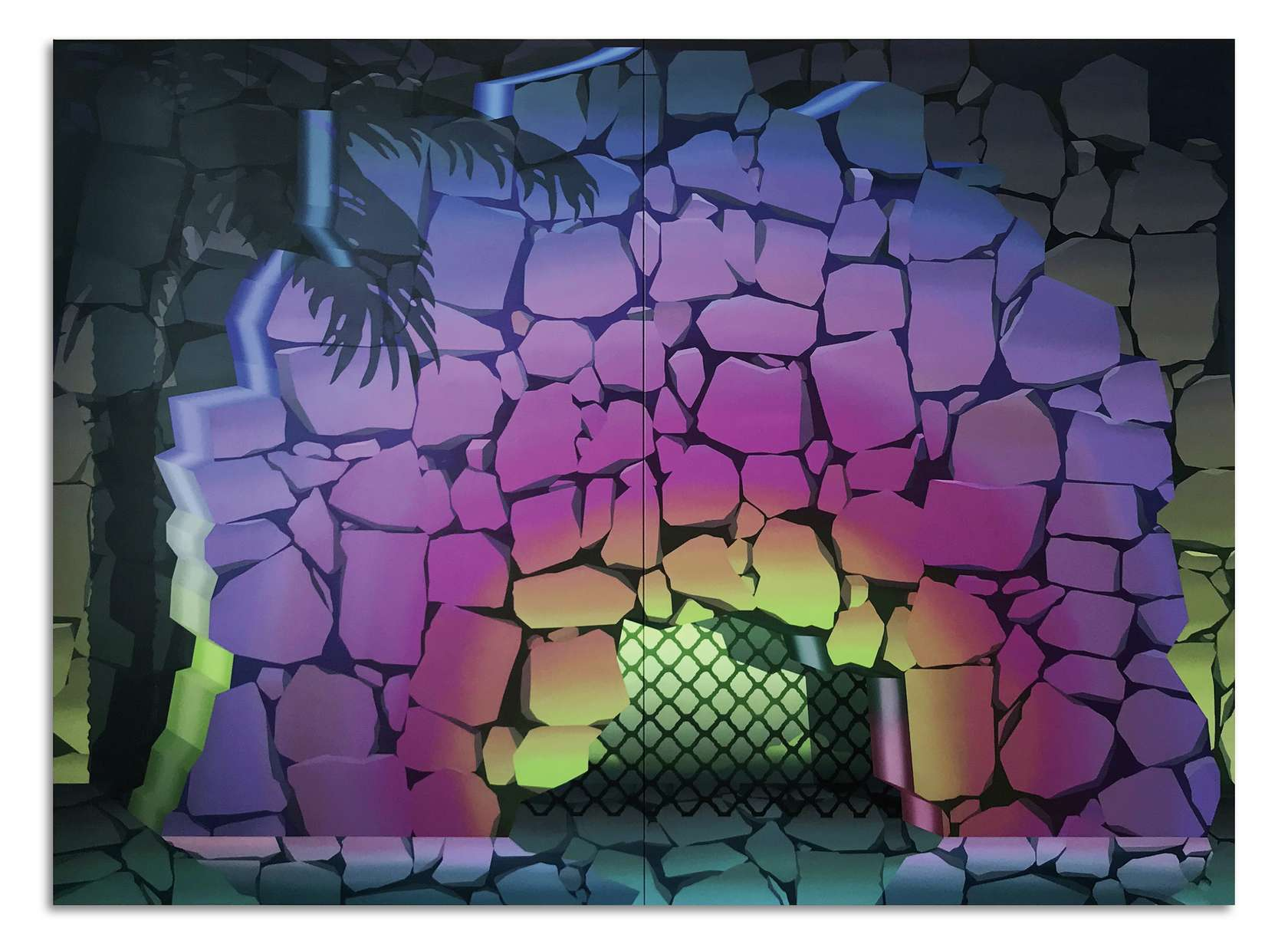 Amélie Bertrand, From Dusk Till Dawn, 2019 Huile sur toile (diptyque)220 x 300 x 4.5 cm / 86 5/8 x 118 1/8 x 17 6/8 inches220 x 150 x 4.5 cm / 86 5/8 x 59  x 1 6/8 inches (chaque/each)