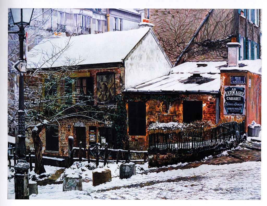 André Raffray, Le Lapin Agile sous la neige de Maurice Utrillo, 1978 Huile sur toile