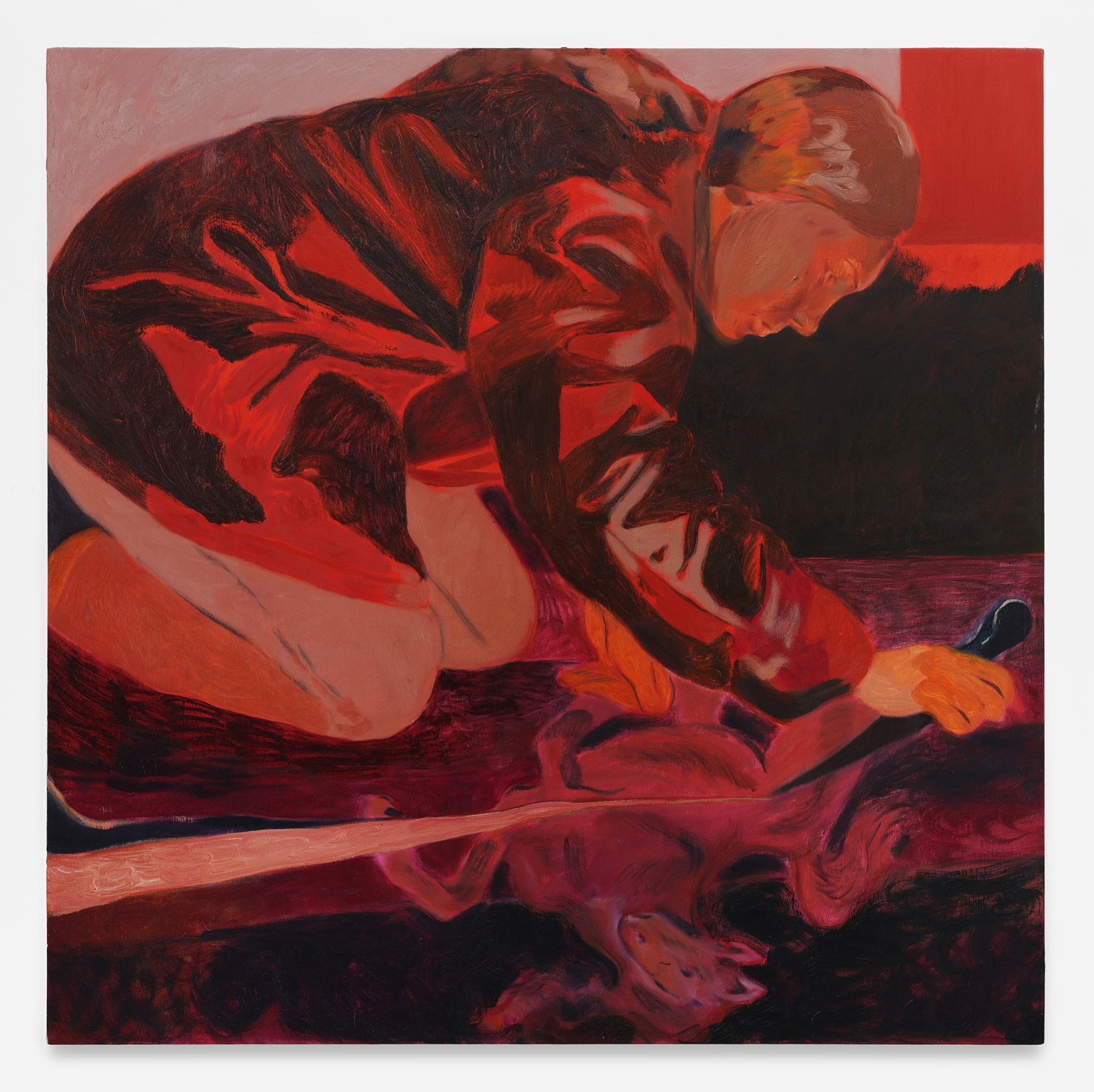 Anthony Cudahy, Cutting terror, 2021 Huile sur toile122 × 122 cm / 48 × 48 in.