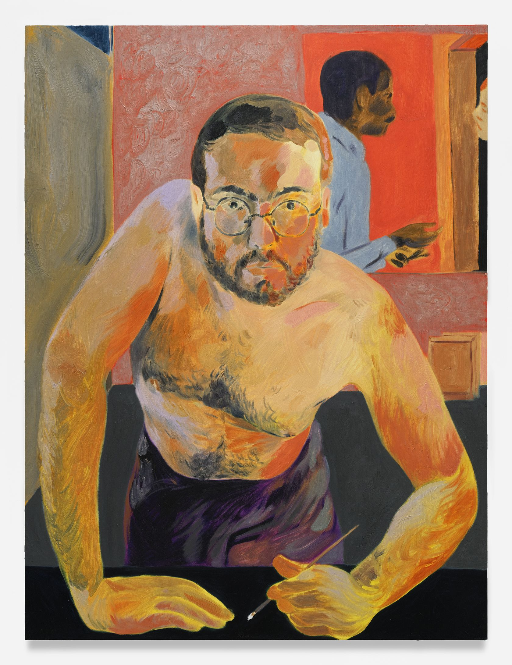Anthony Cudahy, Self-portrait after Hockney '83, 2021 Huile sur toile122 × 91 cm / 48 × 36 in.