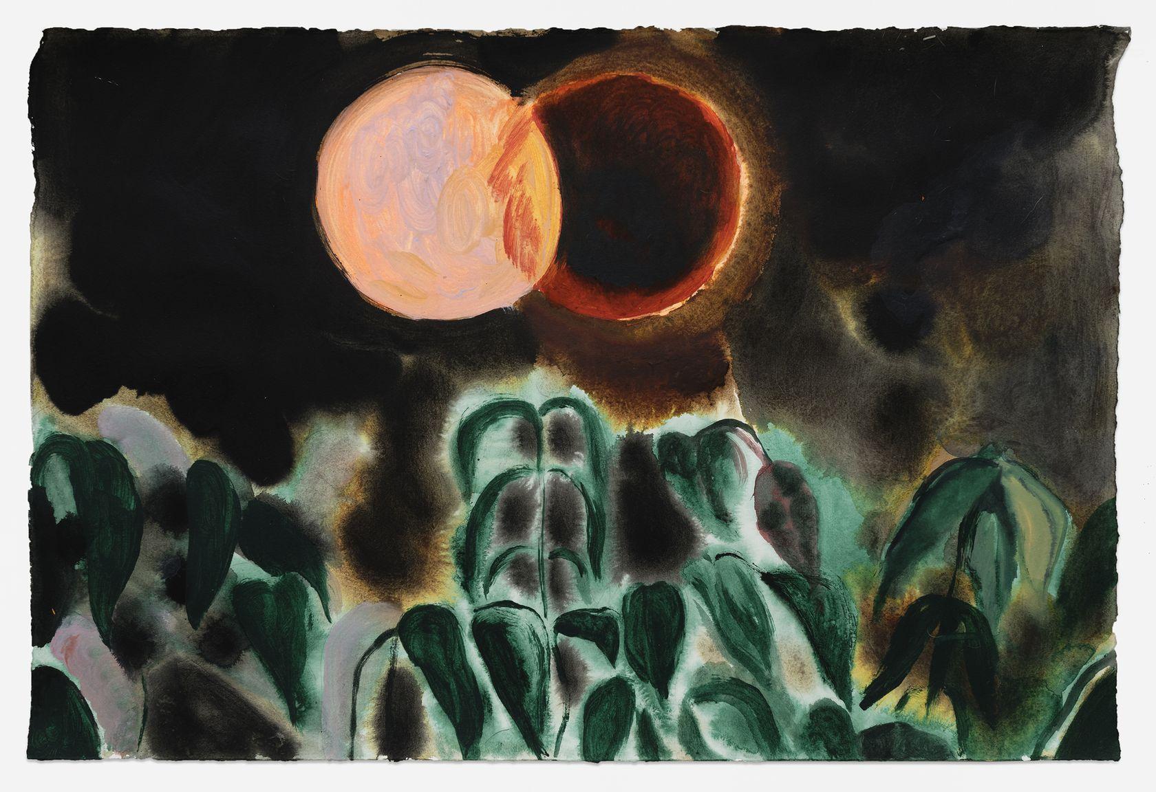 Anthony Cudahy, Imprint moon, 2021 Acrylique sur papier58.5 × 83.5 × 3.5 cm / 23  × 32 7/8 × 1 3/8 in. (encadré/framed)