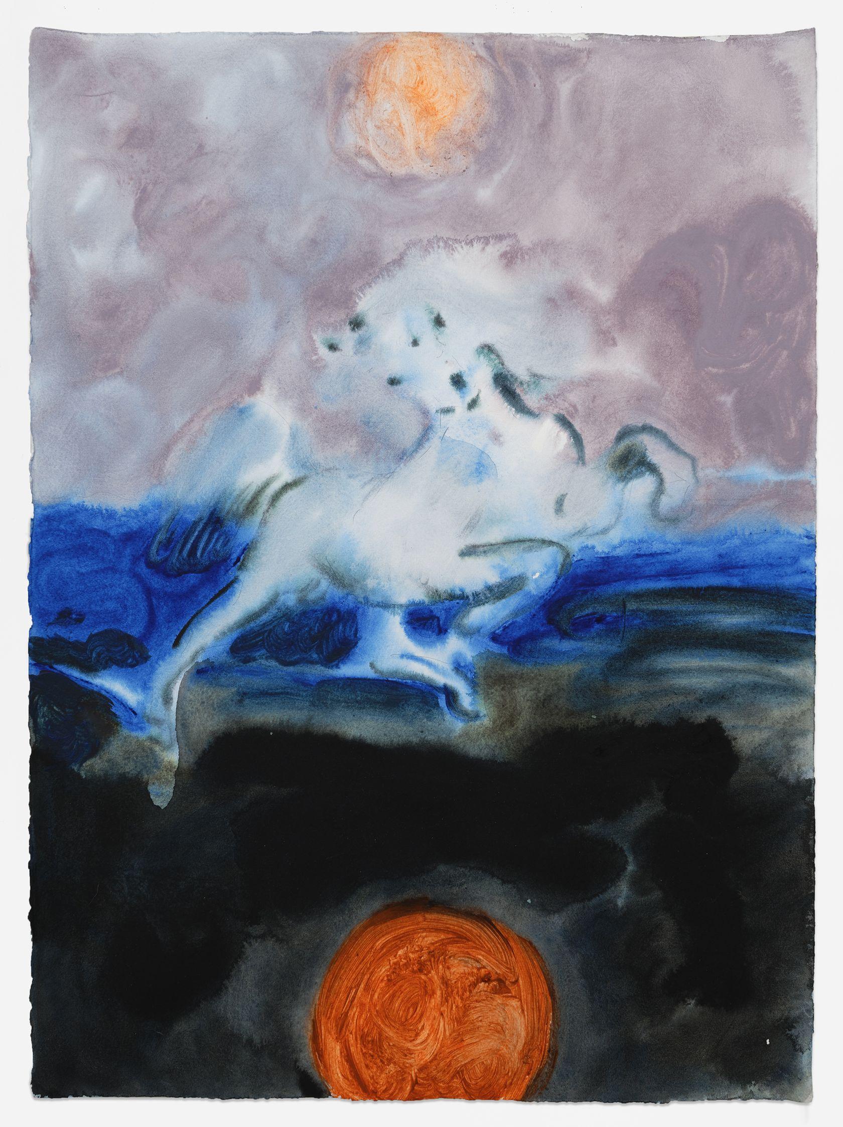 Anthony Cudahy, Delacroix horse (terror), 2021 Acrylique sur papier76 × 56 cm / 30 × 22 in. | 83.5 × 63.5 × 4 cm / 32 7/8 × 25  × 1 5/8 in. (encadré/framed)