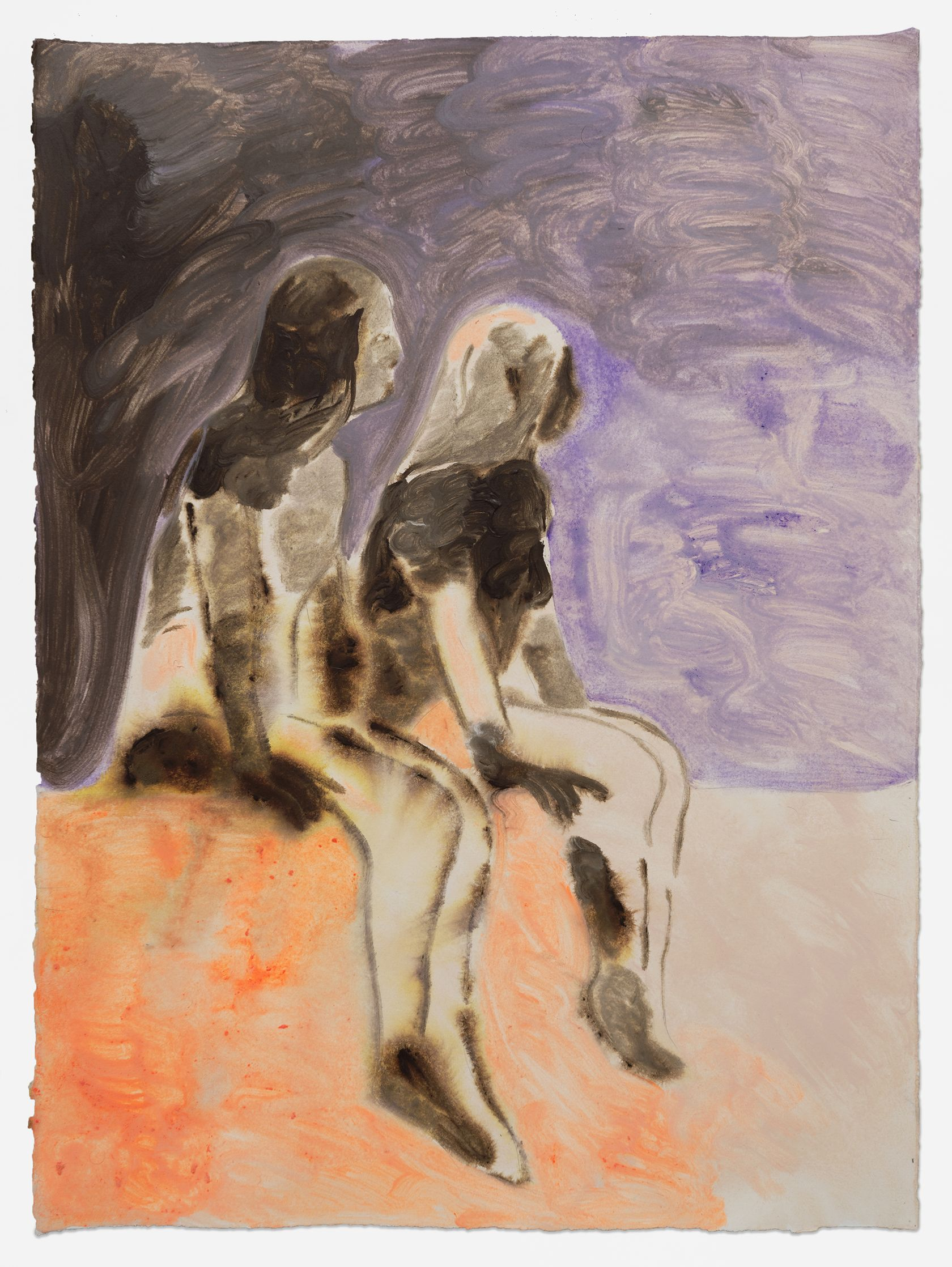 Anthony Cudahy, Two girls waiting, 2021 Acrylique sur papier76 × 56 cm / 30 × 22 in. | 83.5 × 63.5 × 3.5 cm / 32 7/8 × 25  × 1 3/8 in. (encadré/framed)