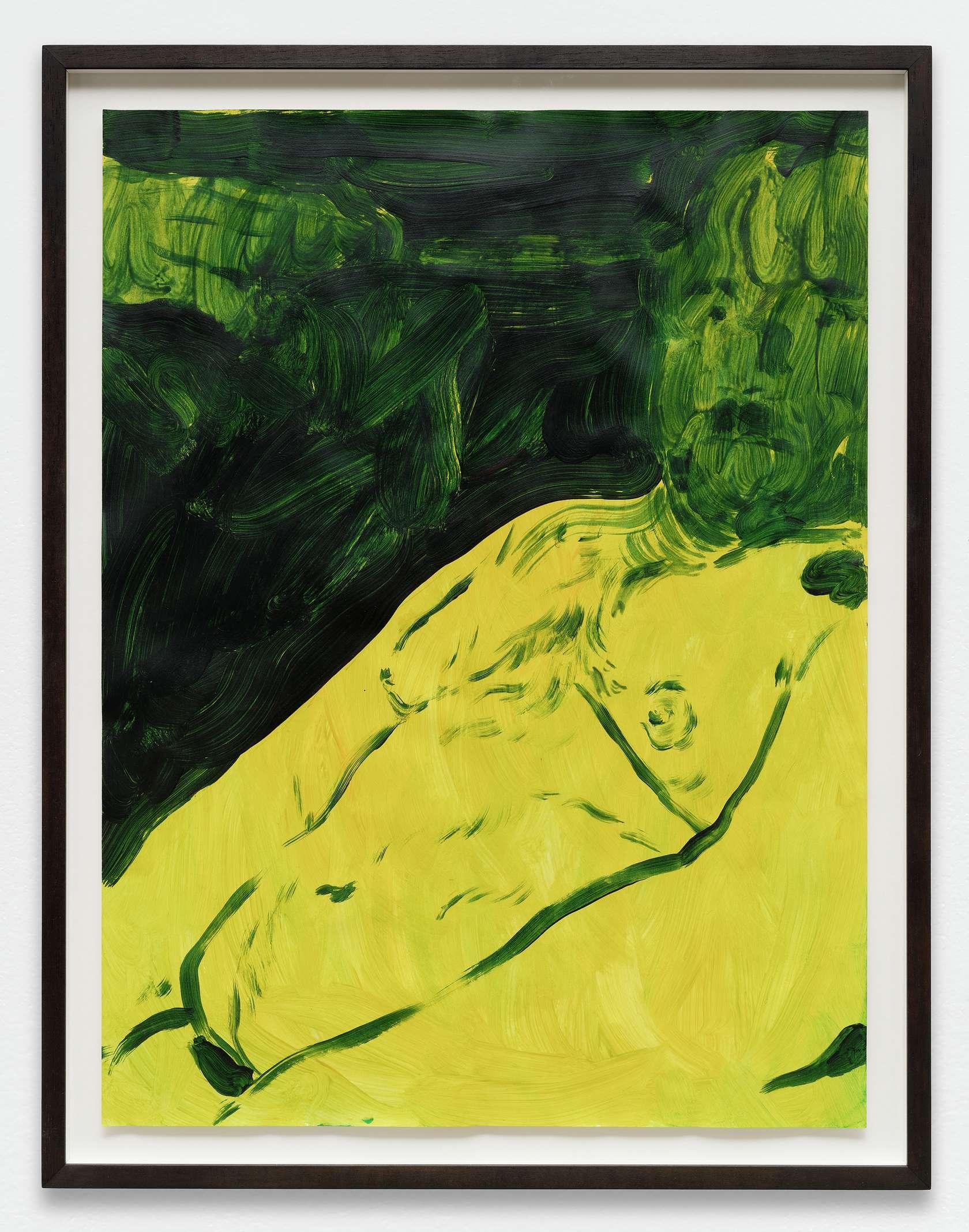 Anthony Cudahy, Green stare, 2019 Acrylique sur papier61 × 46 cm / 24  × 18 1/8 in. | 68 × 53 cm / 26 6/8 × 20 7/8 in. (encadré/framed)