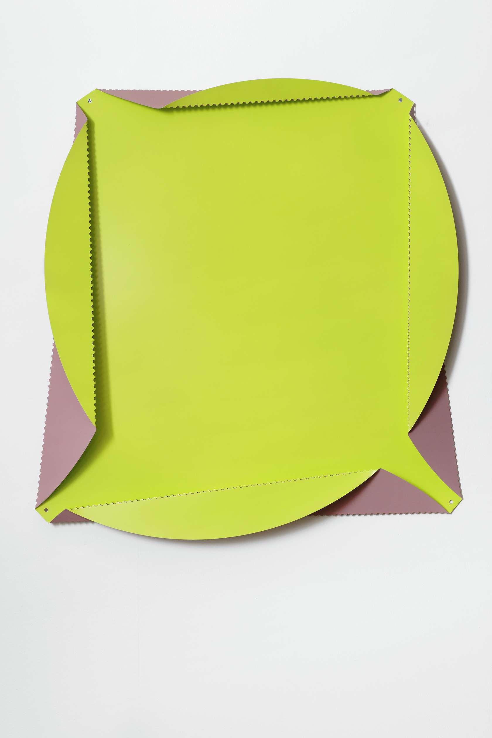 Beat Zoderer, Quadratur des Kreises, 2013 Acrylique sur aluminium perforé et plié125 cm / 49 2/8 inches