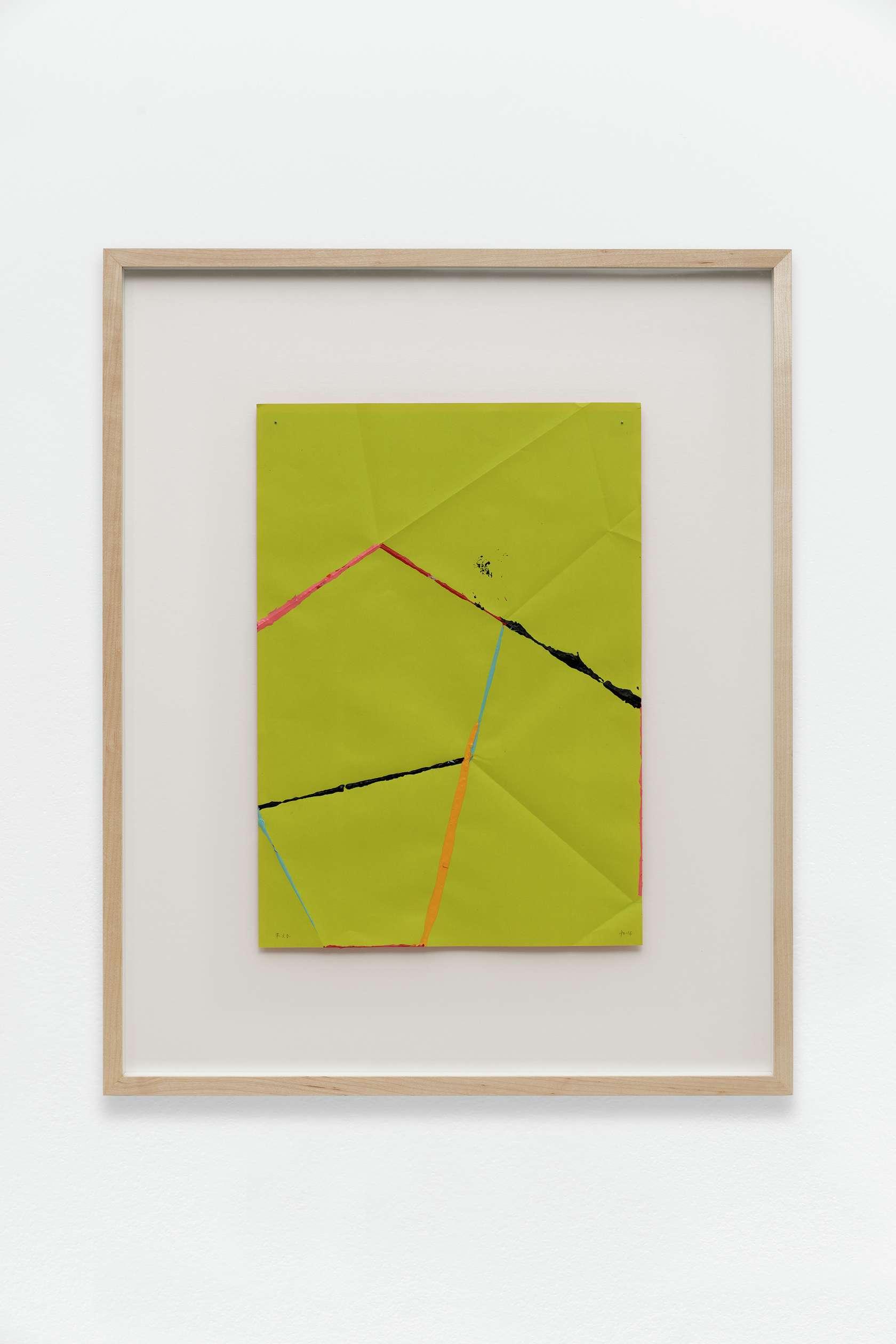 Beat Zoderer, Fold & Dip, 2016 Acrylique sur papier plié41 x 29 cm / 16 1/8 x 11 3/8 inches