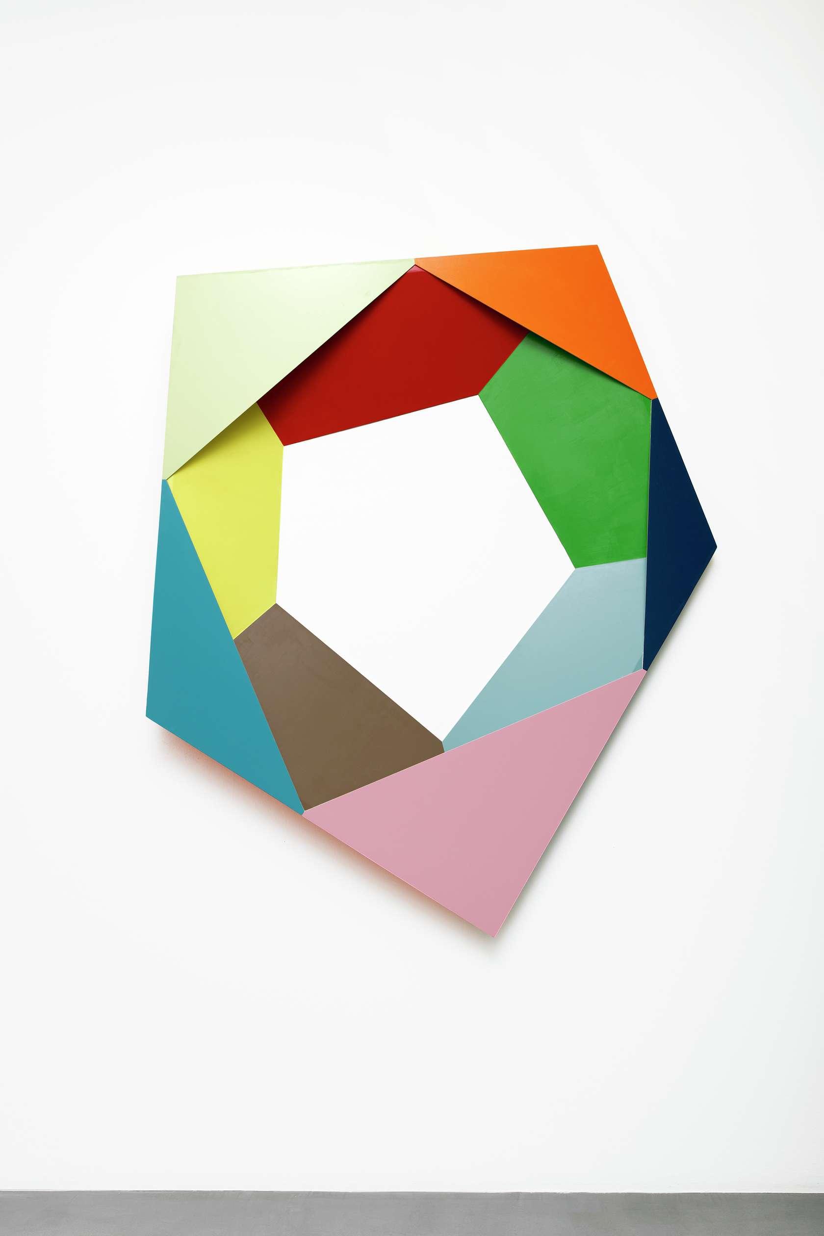 Beat Zoderer, Penta 03, 2018 Acrylique sur contreplaqué160 x 128 x 12.5 cm / 63  x 50 3/8 x 4 7/8 inches