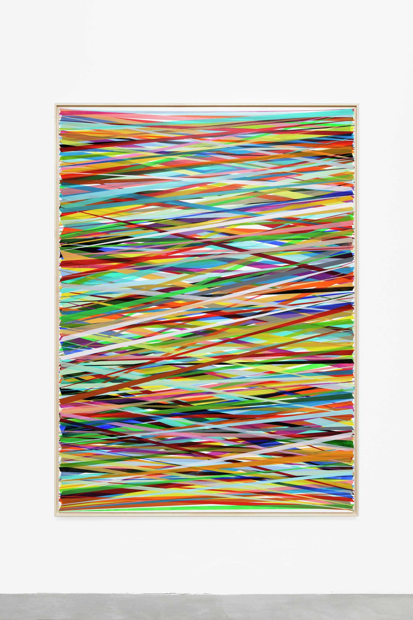 Beat Zoderer, Horizontales ZIG ZAG No. 6/19, 2019 Acrylique sur panneau de bois194 x 143 cm / 76 3/8 x 56 2/8 inches