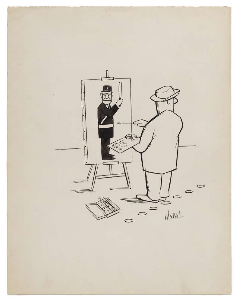 Chaval, Sans titre, c.1960 Encre sur papier32 × 24.7 cm / 12 5/8 × 9 6/8 in.