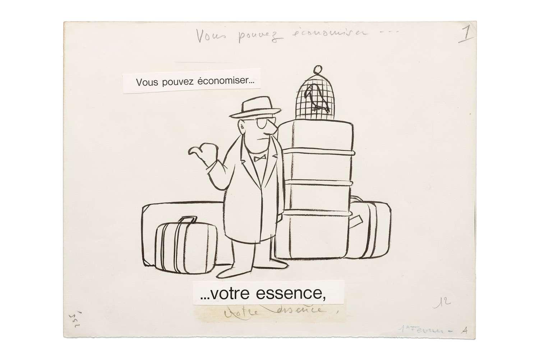 Chaval, Vous pouvez économiser... Votre essence., 1960 Encre de Chine et mine de plomb sur papier