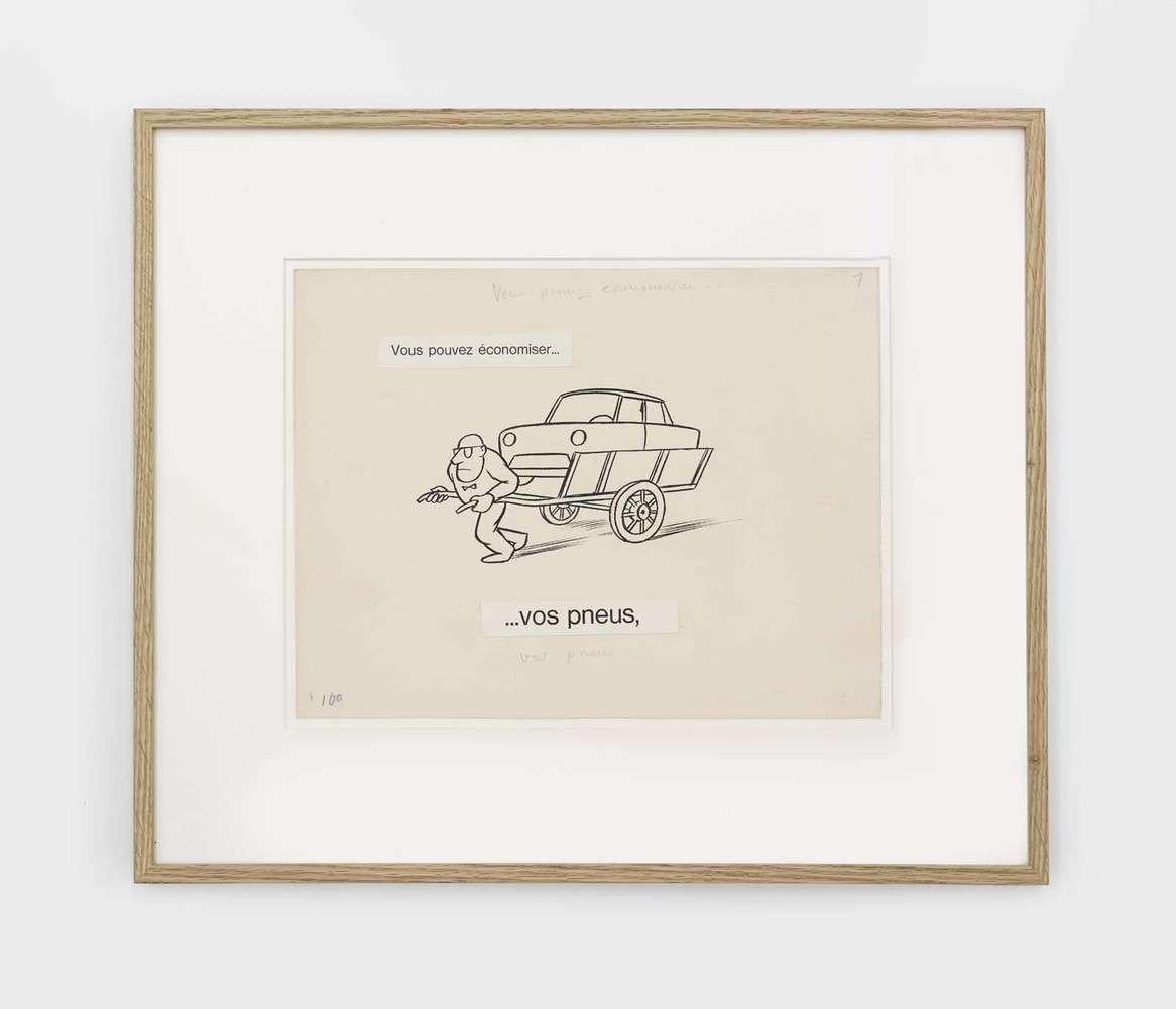 Chaval, Vous pouvez économiser... Vos pneus,  Collage, encre de Chine et mine de plomb sur papier24.5 x 32 cm / 9 5/8 x 12 5/8 inches