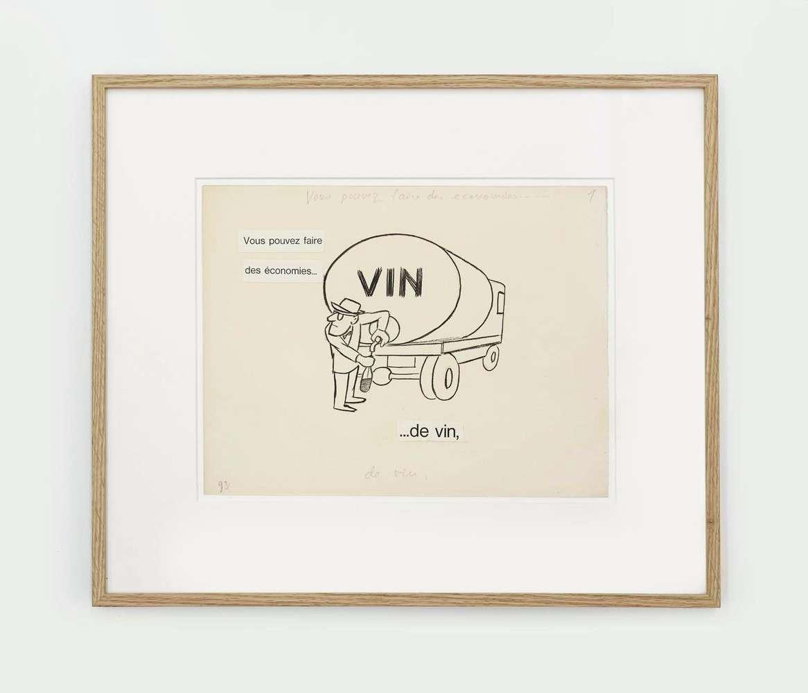 Chaval, Vous pouvez faire des économies... de vin,  Collage, encre de Chine et mine de plomb sur papier24.8 x 32.4 cm / 9 6/8 x 12 6/8 inches
