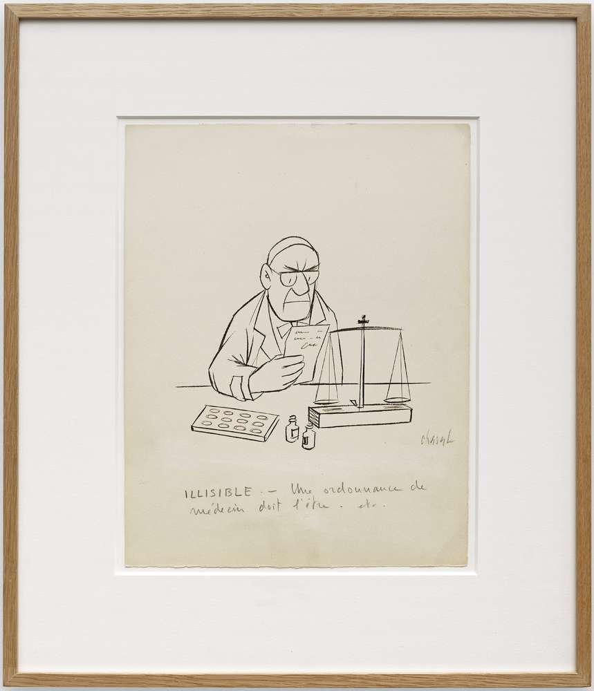 Chaval, ILLISIBLE - Une ordonnance de médecin doit l'être. etc.,  Encre et mine de plomb sur papier32 x 25 cm / 12 5/8 x 9 7/8 inches