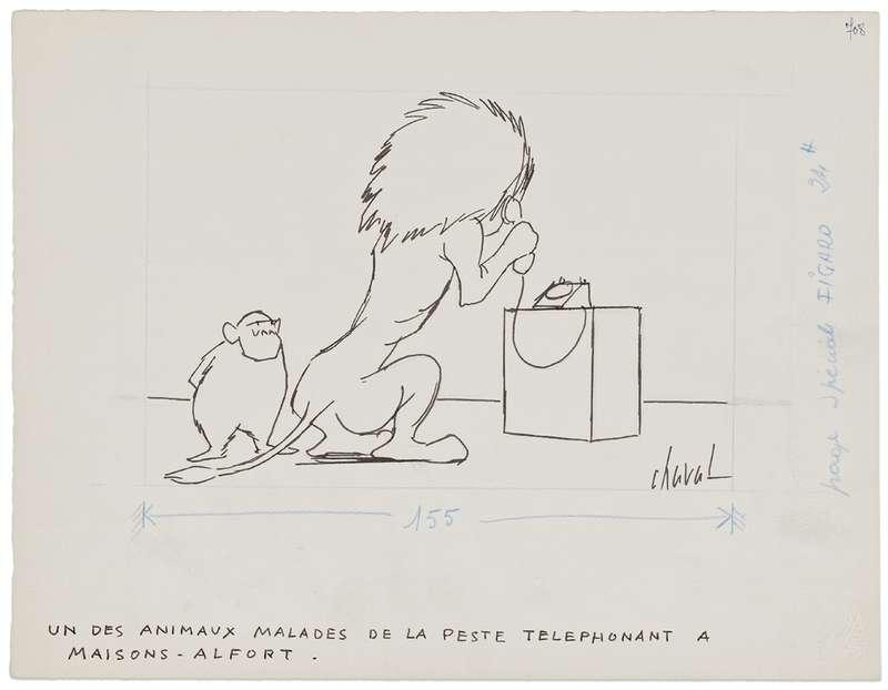 Chaval, Un des animaux malades de la peste téléphonant à Maison-Alfort,  Encre et mine de plomb sur papier25 x 32.5 cm / 9 7/8 x 12 6/8 inches