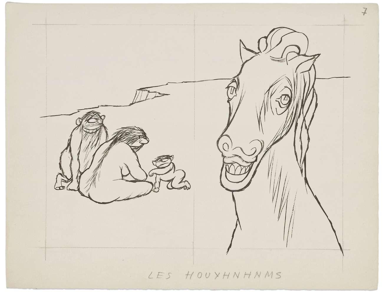 Chaval, Les Houyhnhnms, 1960 Encre et mine de plomb sur papier25 x 32.5 cm / 9 7/8 x 12 6/8 inches