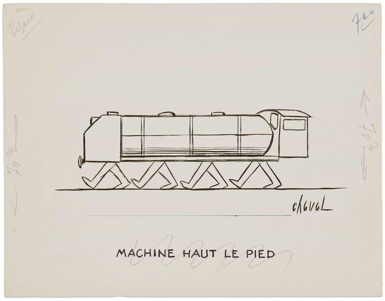 Chaval, Machine Haut Le Pied,  Encre et mine de plomb sur papier25 x 32.5 cm / 9 7/8 x 12 6/8 inches
