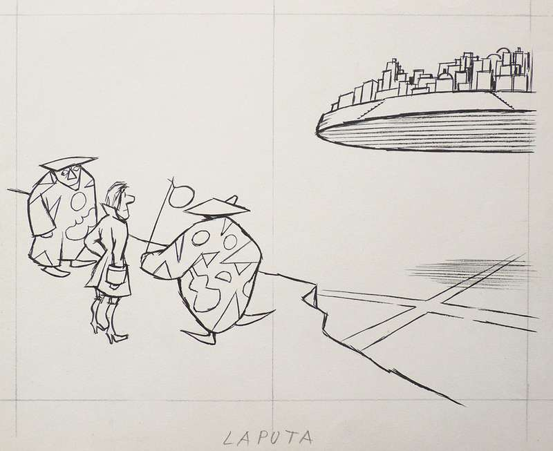 Chaval, LAPUTA, 1958 Encre et mine de plomb sur papier25 x 32.5 cm / 9 7/8 x 12 6/8 inches