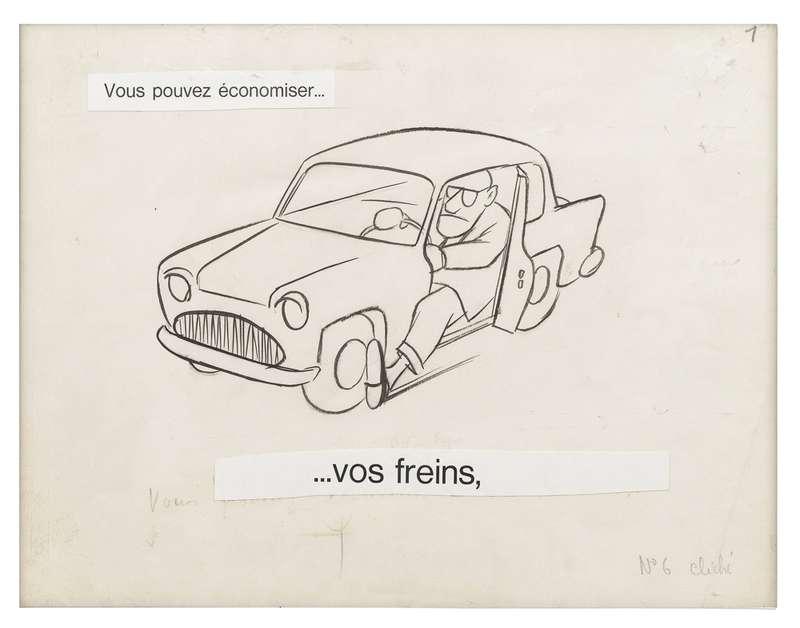 Chaval, Vous pouvez économiser... Vos freins, 1961 Encre de Chine et mine de plomb sur papier24 x 32 cm / 9 1/2 x 12 5/8 inches