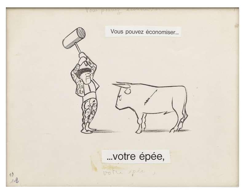 Chaval, Vous pouvez économiser... Votre épée, 1962 Encre de Chine et mine de plomb sur papier24 x 32 cm / 9 1/2 x 12 5/8 inches