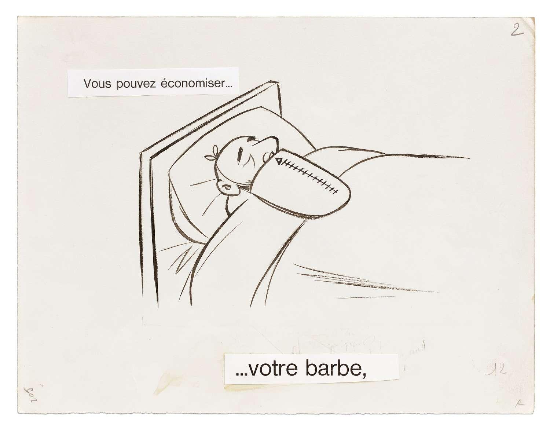 Chaval, Vous pouvez économiser... Votre barbe., 1960 Encre de Chine et mine de plomb sur papier24.8 x 32.4 cm / 9 6/8 x 12 6/8 inches