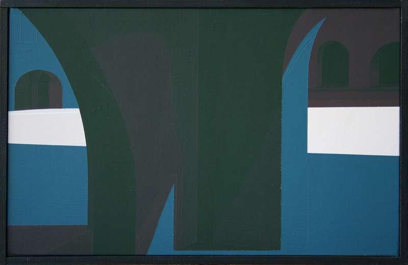 Christian Babou, Montréal sous couvert, 1989 Acrylique sur toile32 x 50 cm / 12 5/8 x 19 5/8 inches