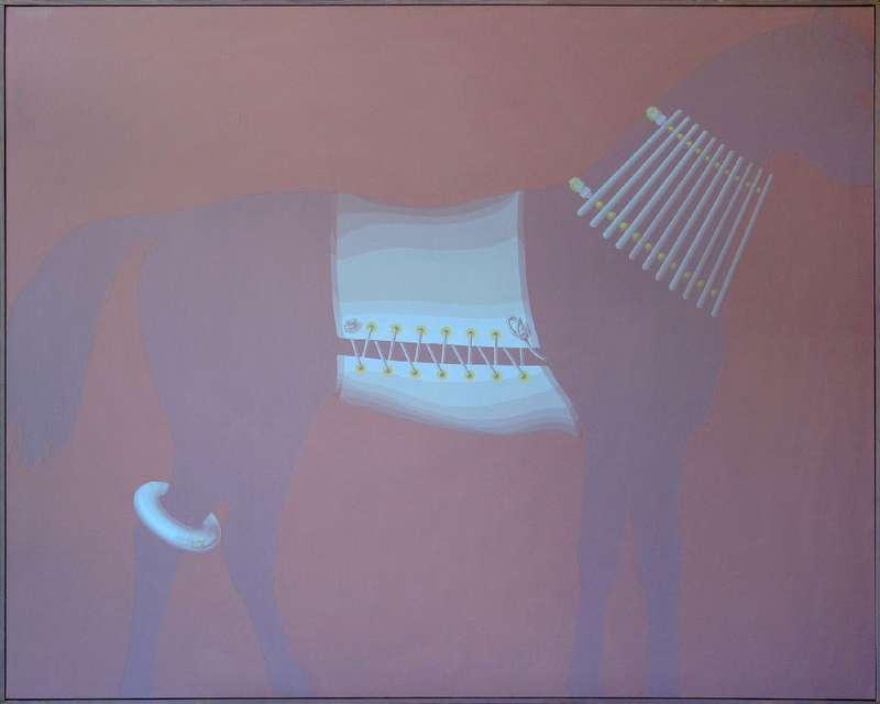 Christian Babou, Chapelet, bandage & bourrelet, 1986 Acrylique sur toile130 x 162 cm / 51 1/8 x 63 6/8 inches