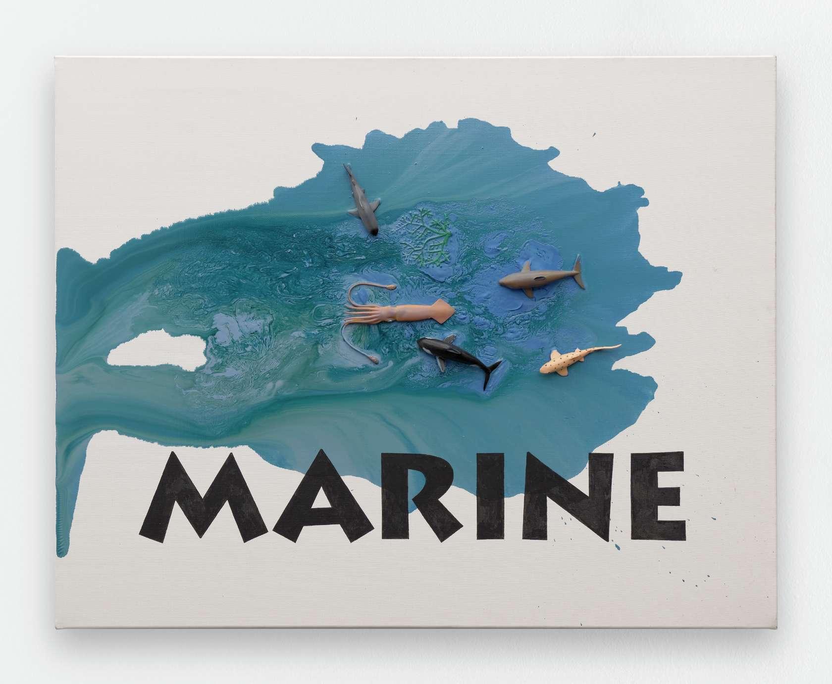 Ernest T., Marine, 2014 Peinture glycéro et figurines en plastiques sur toile 73 x 92cm / 28 6/8 x 36 2/8inches