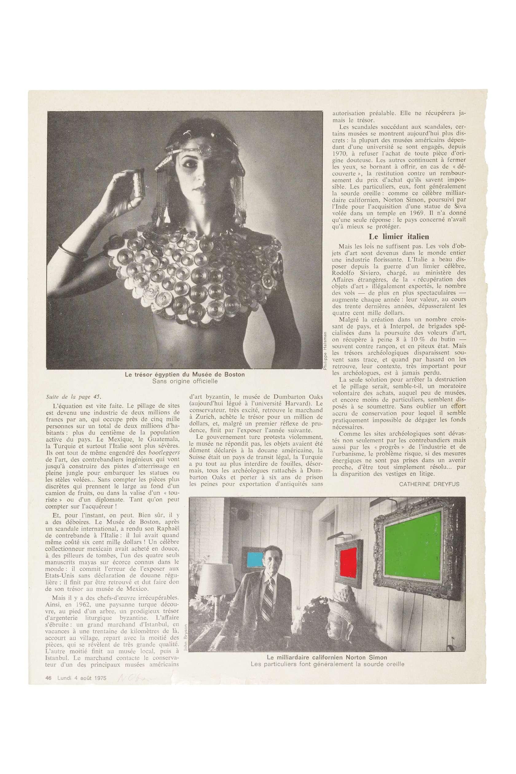 Ernest T., Le Nouvel Observateur Lundi 4 Août 1975, 1975 Peinture laquée sur page de journal 29.7 x 22.2 cm / 11 6/8 x 8 6/8 inches