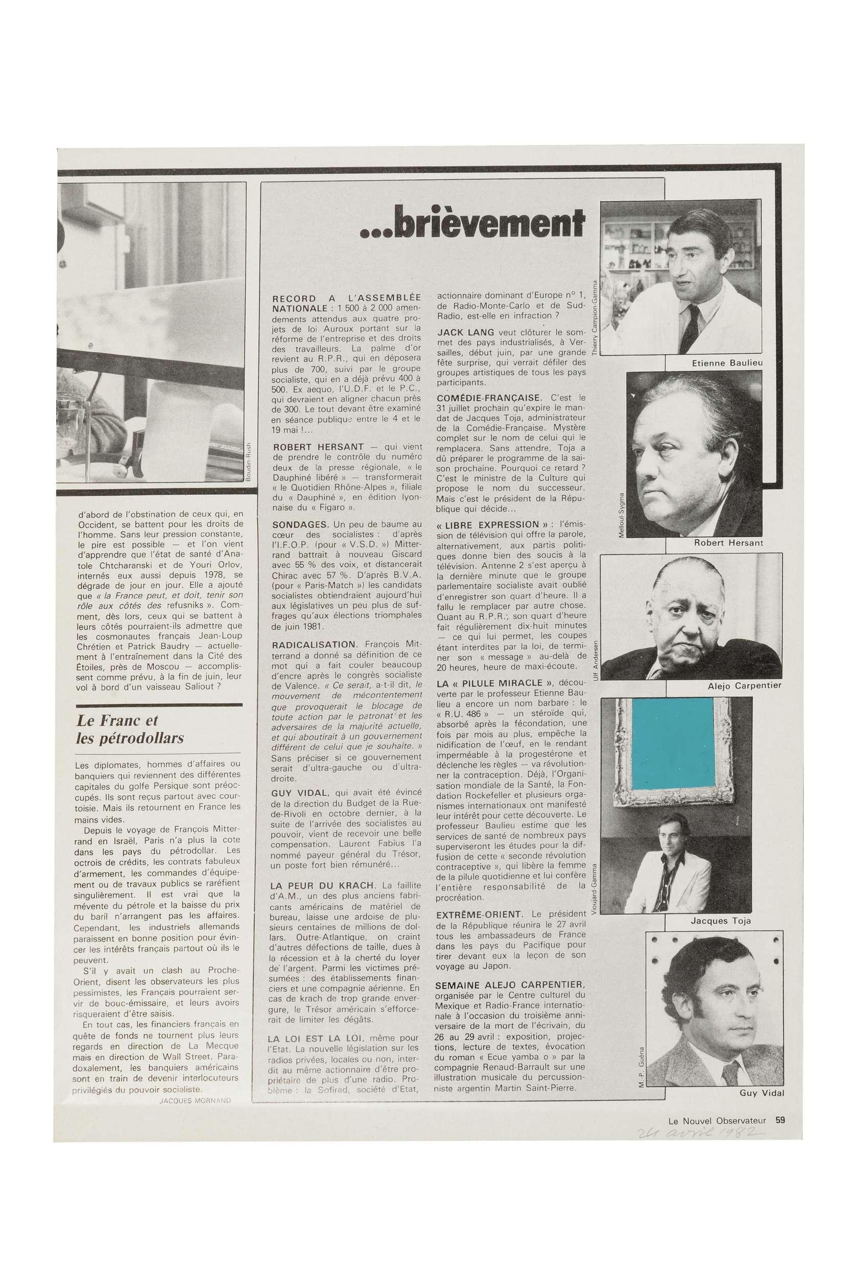Ernest T., Le Nouvel Observateur 24 Avril 1982, 1982 Laque sur page de journal29.7 x 22.2 cm / 11 6/8 x 8 6/8 inches