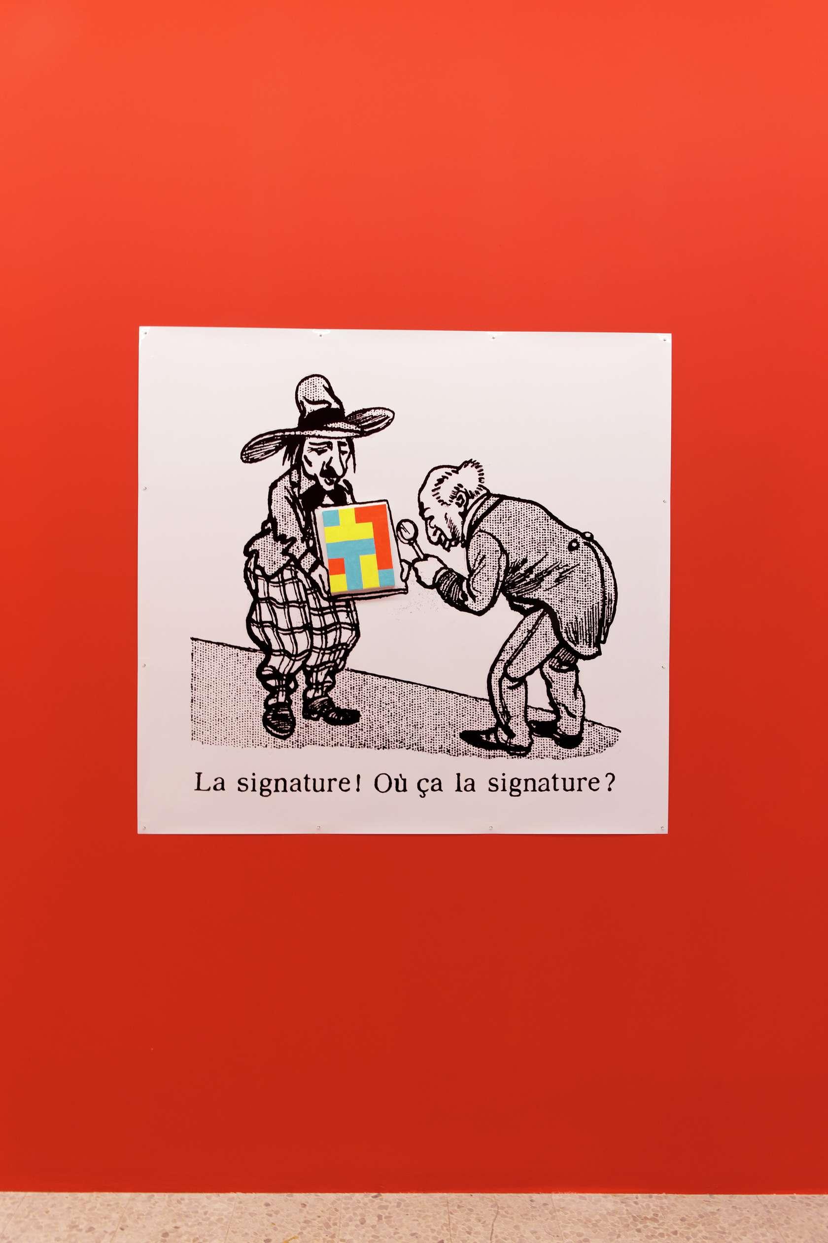 Ernest T., La signature! Où ça la signature?, 1990 Tirage photographique et acrylique sur toile (peinture nulle n°140)131 x 120 x 19 cm / 51 5/8 x 47 2/8 x 7 1/2 inches
