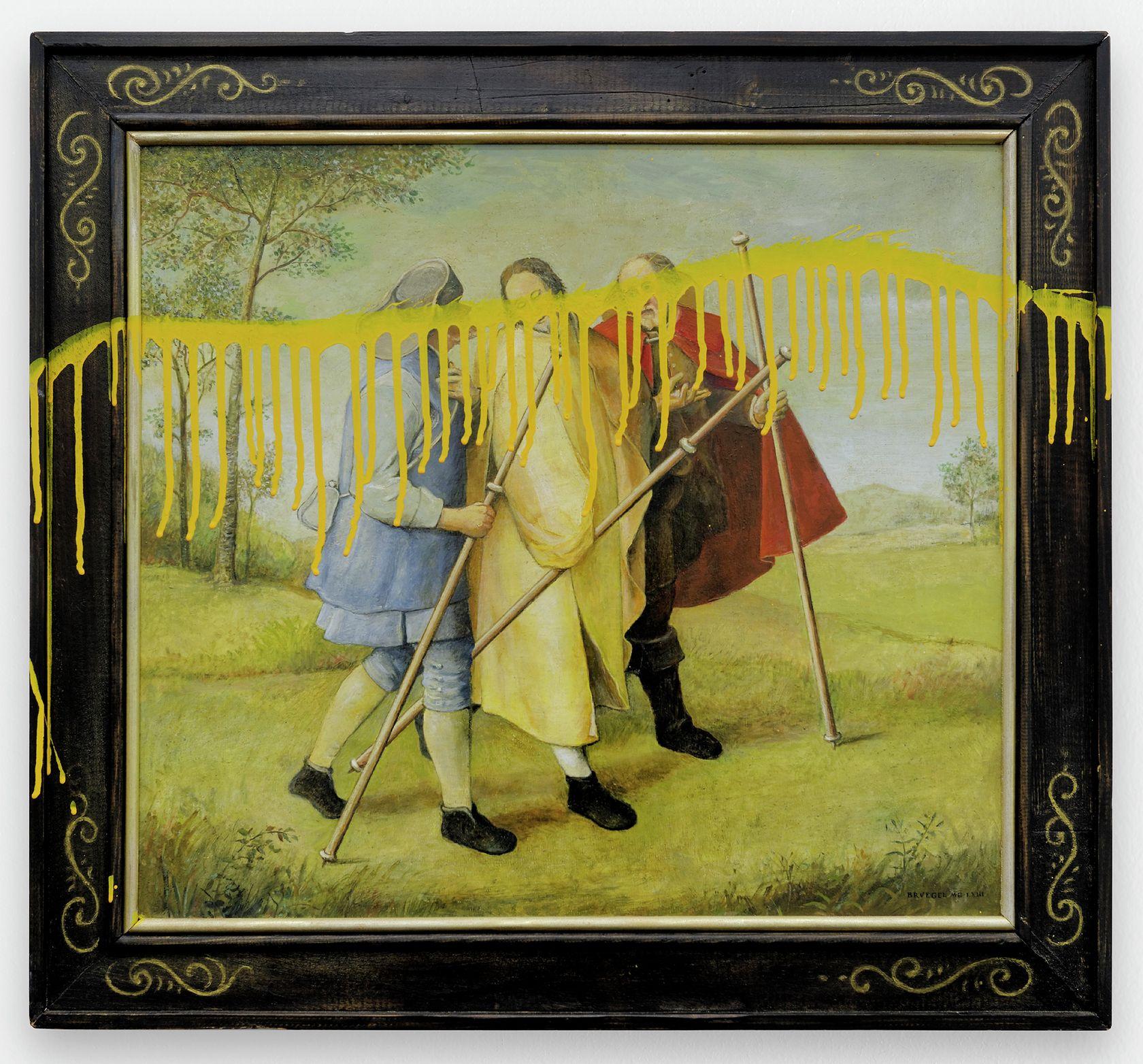 Ernest T., Brueghel vandalisé, 1997 Huile et laque sur bois59.8 × 66 cm / 23 1/2 × 26  in.