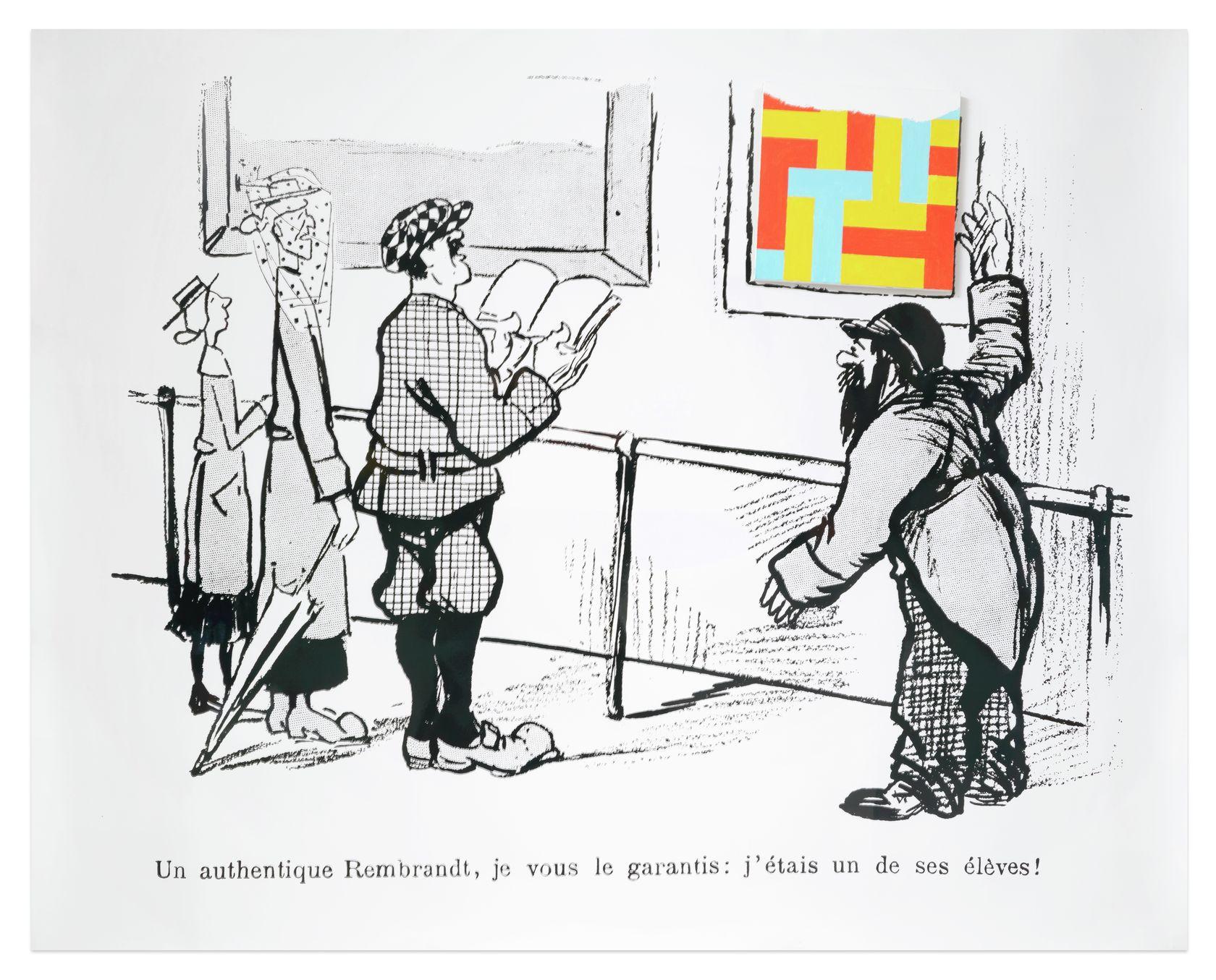 Ernest T., Un authentique Rembrandt, 1990 Papier photo et acrylique sur toile (peinture nulle n°163)120 × 150 × 25 cm / 47 2/8 × 59  × 9 7/8 in.