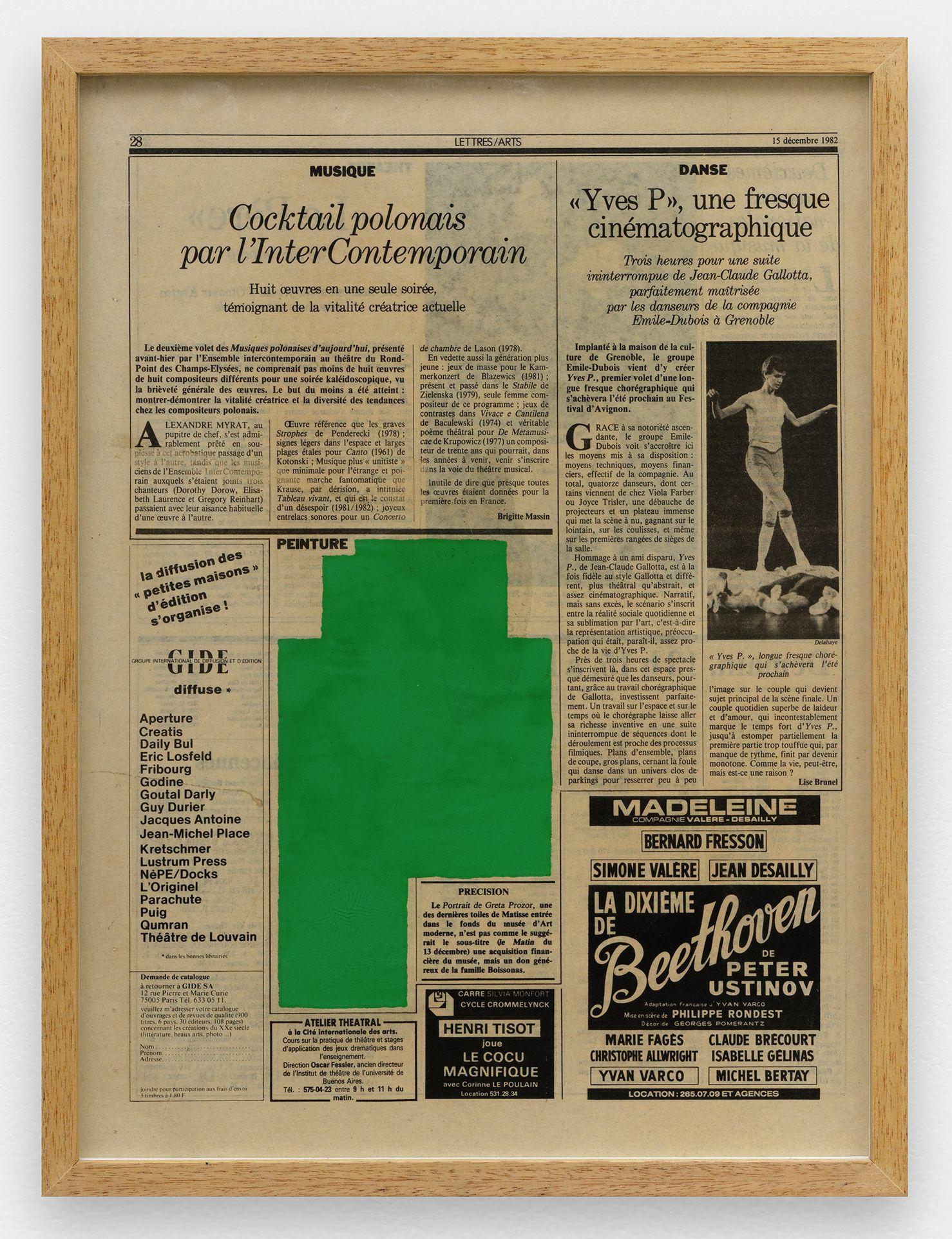 Ernest T., Le Quotidien de Paris , 15 décembre 1982, 1982 Laque sur page de journal39.5 × 28.5 cm / 15 1/2 × 11 2/8 in. | 42 × 31.5 × 2.5 cm / 16 1/2 × 12 3/8 × 1  in. (encadré/framed)