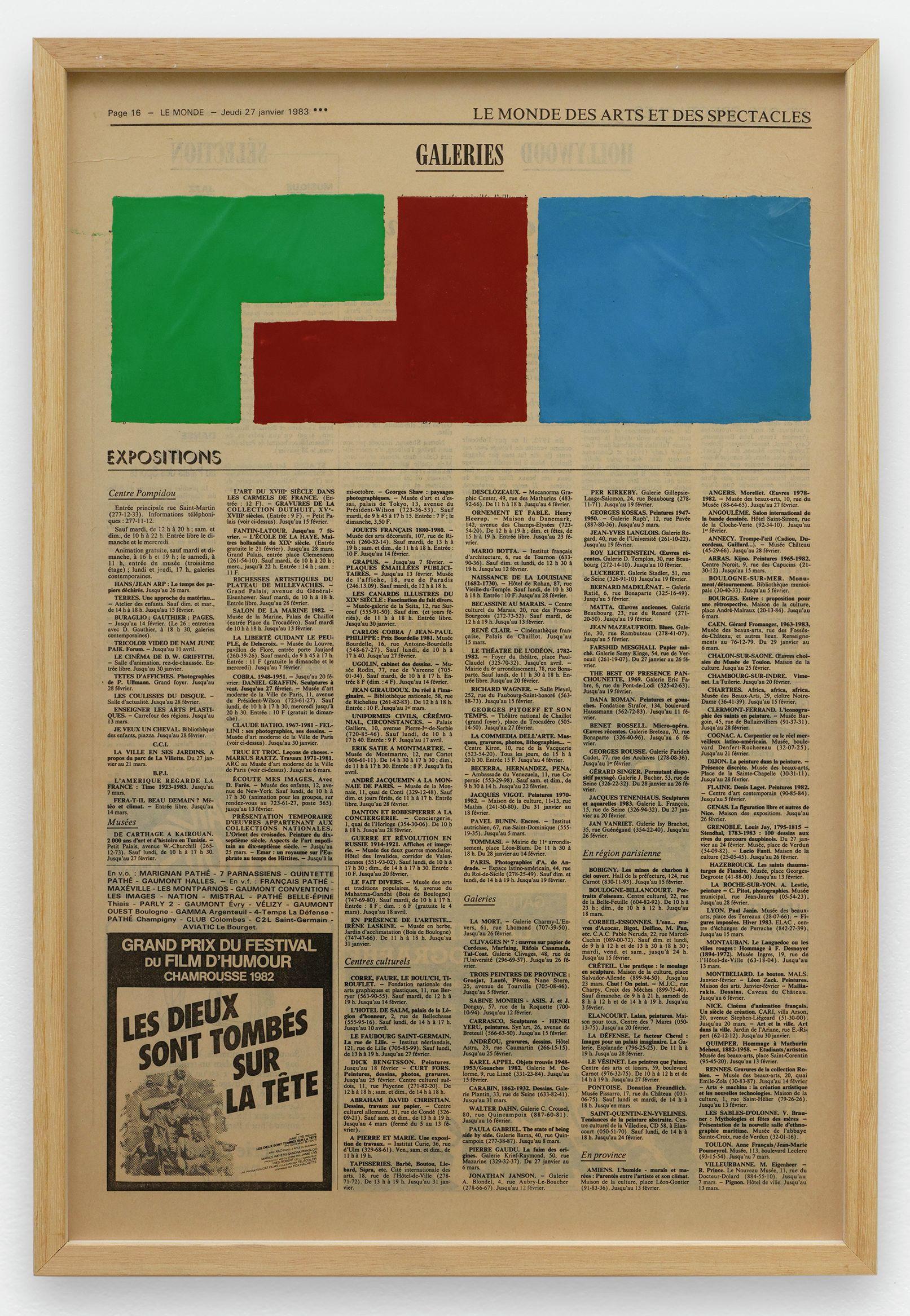 Ernest T., Le Monde, jeudi 27 janvier 1983, 1983 Laque sur page de journal50 × 32.5 cm / 19 5/8 × 12 6/8 in. | 52 × 35.5 × 2.5 cm / 20 1/2 × 14  × 1  in. (encadré/framed)