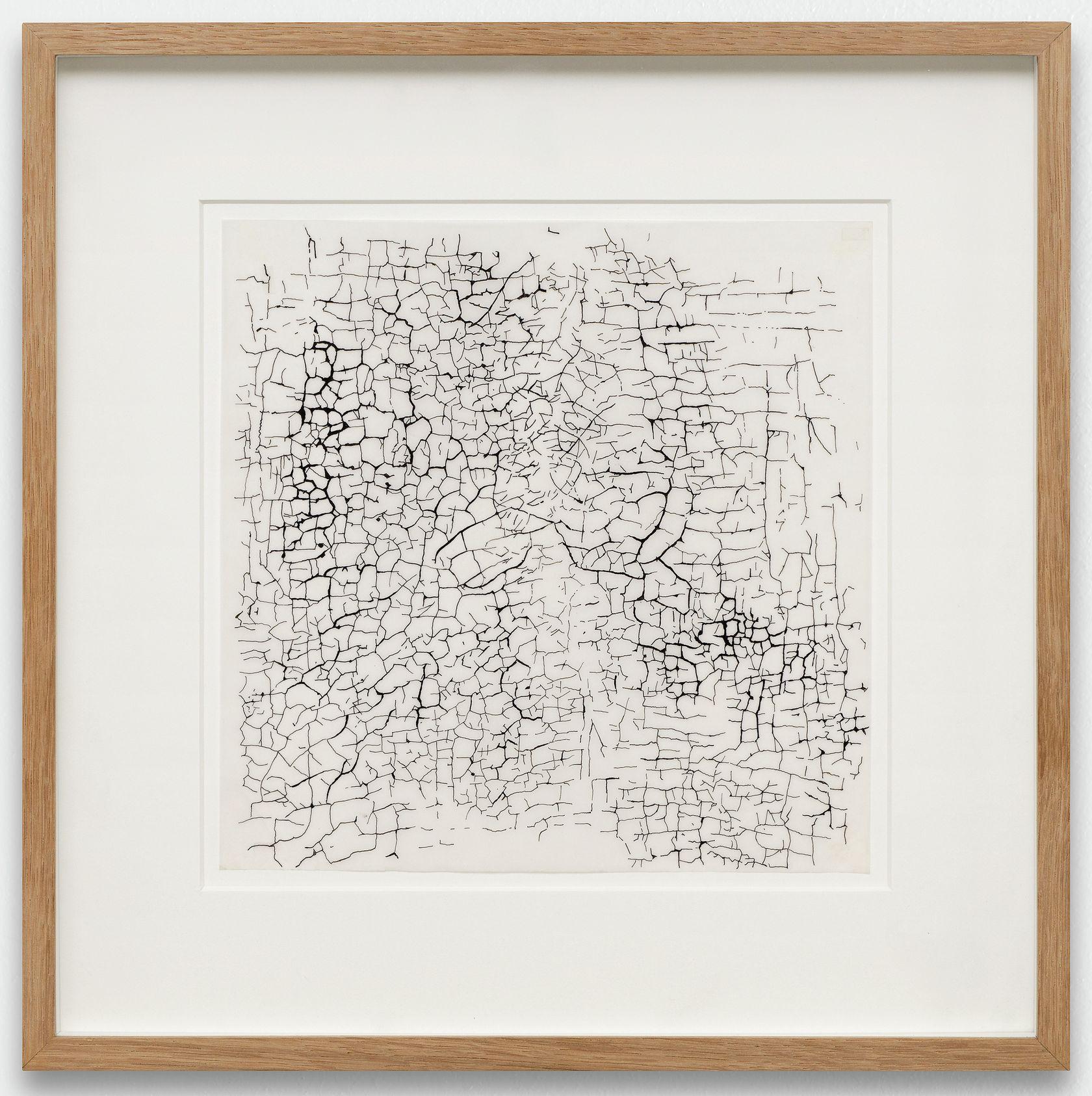 Ernest T., Relevé des craquelures sur le torse du Christ en Croix de Jérôme Bosch, Bruxelles, 1979 Encre sur papier calque, encadrement réalisé par l'artiste 20.5 × 20.5 cm / 8 1/8 × 8 1/8 in. | 33 × 33 × 3 cm / 13  × 13  × 1 1/8 in. (encadré/framed)