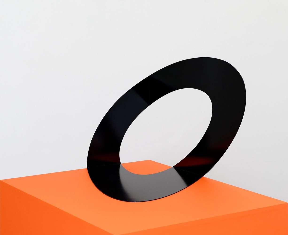 Felice Varini, Ellipse noire Paris 2008, 2008 Acier peint - Edition de 8 exemplaires48 x 48 x 73.5 cm / 18 7/8 x 18 7/8 x 28 7/8 inches