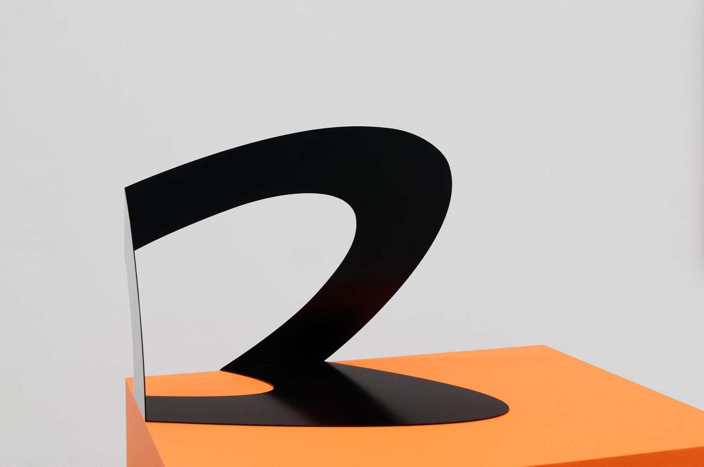 Felice Varini, Ellipse noire Paris 2008, (hors point de vue), 2008 Acier peint - Edition de 8 exemplaires48 x 48 x 73.5 cm / 18 7/8 x 18 7/8 x 28 7/8 inches