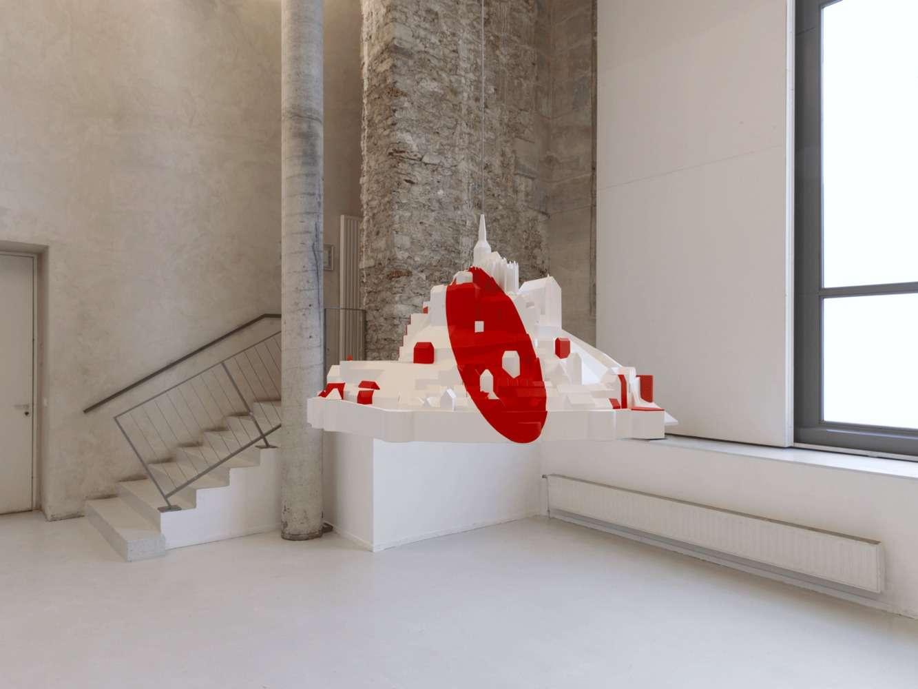 Felice Varini, Projet hypothéthique, Mont Saint-Michel, 1989-2013 Impression 3D et peinture acrylique38 × 70 × 58 cm / 15  × 27 1/2 × 22 7/8 in.