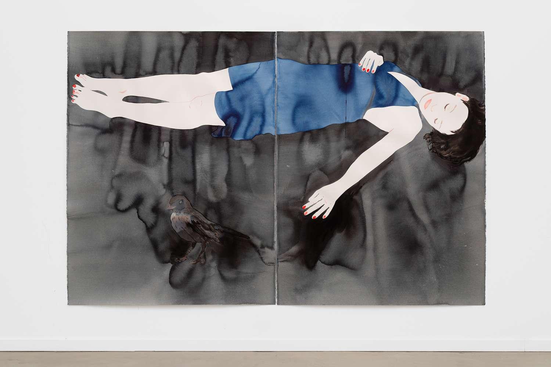 Françoise Pétrovitch, Étendu, 2017 Lavis d'encre sur papier160 × 240 cm / 63  × 94 1/2 in.Encadré 173 × 255.5 cm / 68 1/8 × 1005 7/8 in.