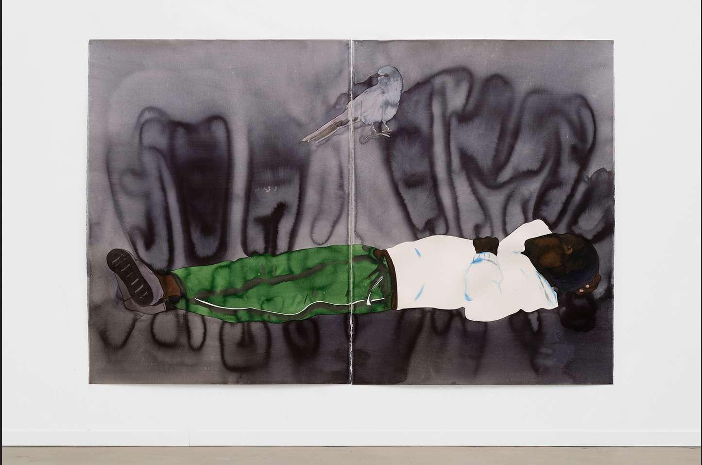 Françoise Pétrovitch, Étendu, 2018 Lavis d'encre sur papier160 × 240 cm / 63  × 94 1/2 in.