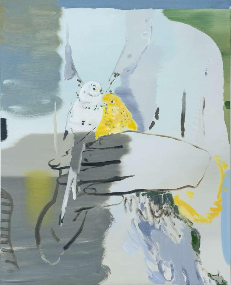 Françoise Pétrovitch, Perruches, 2018 Huile sur toile160 x 130 cm / 63  x 51 1/8 inches