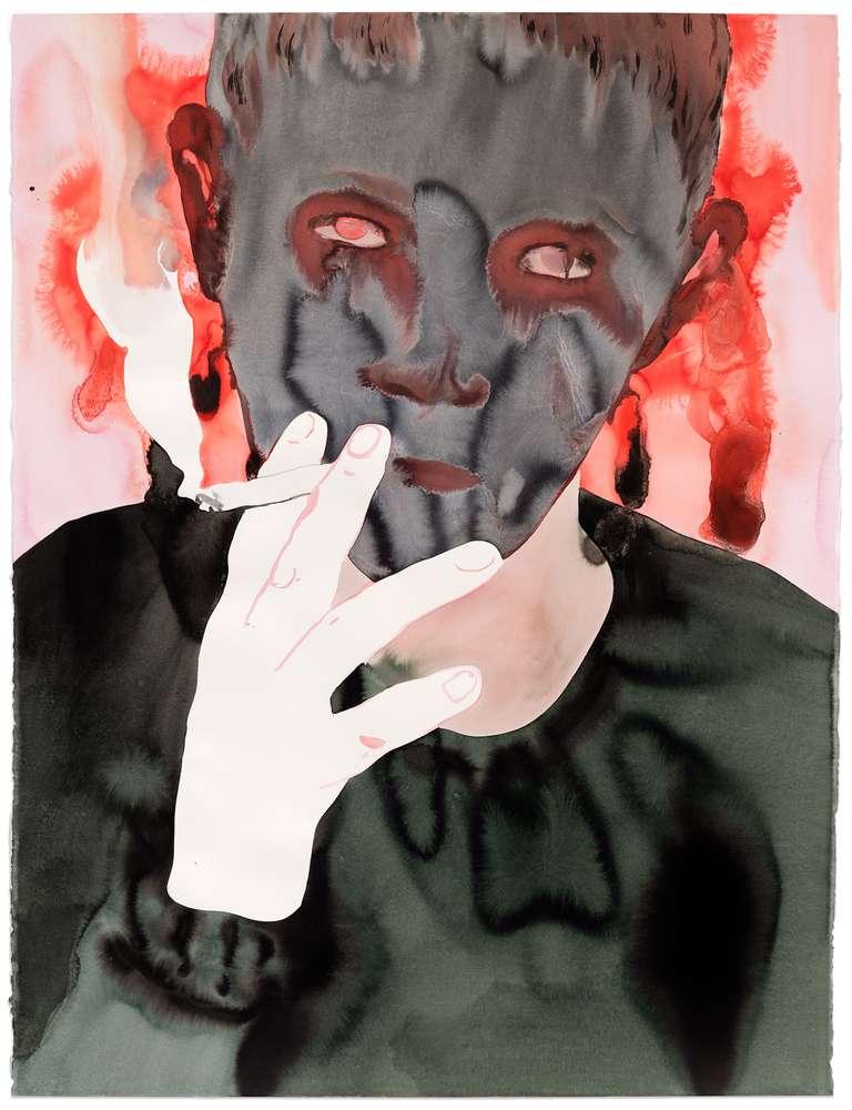 Françoise Pétrovitch, Fumeur, 2018 Lavis d'encre sur papier160 x 120 cm / 63  x 47 2/8 inches
